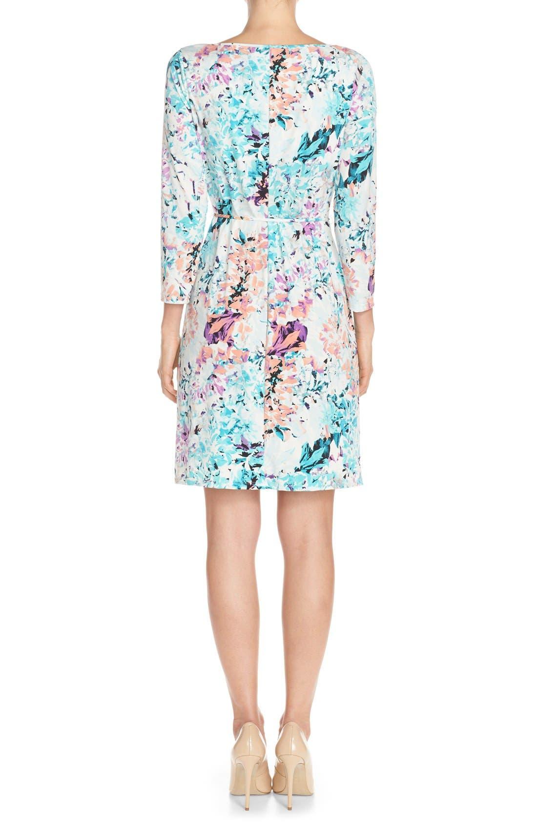 IVANKA TRUMP, Floral Print Jersey A-Line Dress, Alternate thumbnail 6, color, 101