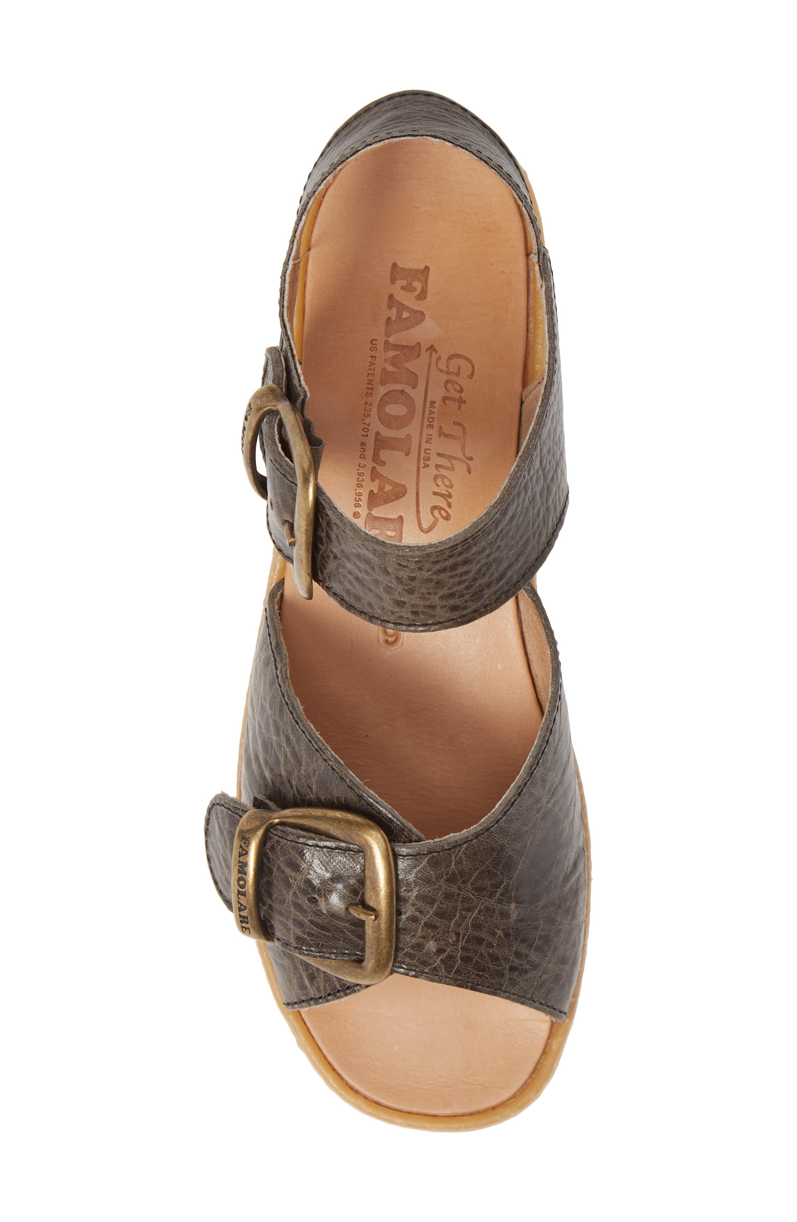 FAMOLARE, Double Play Platform Sandal, Alternate thumbnail 5, color, STEEL SUEDE