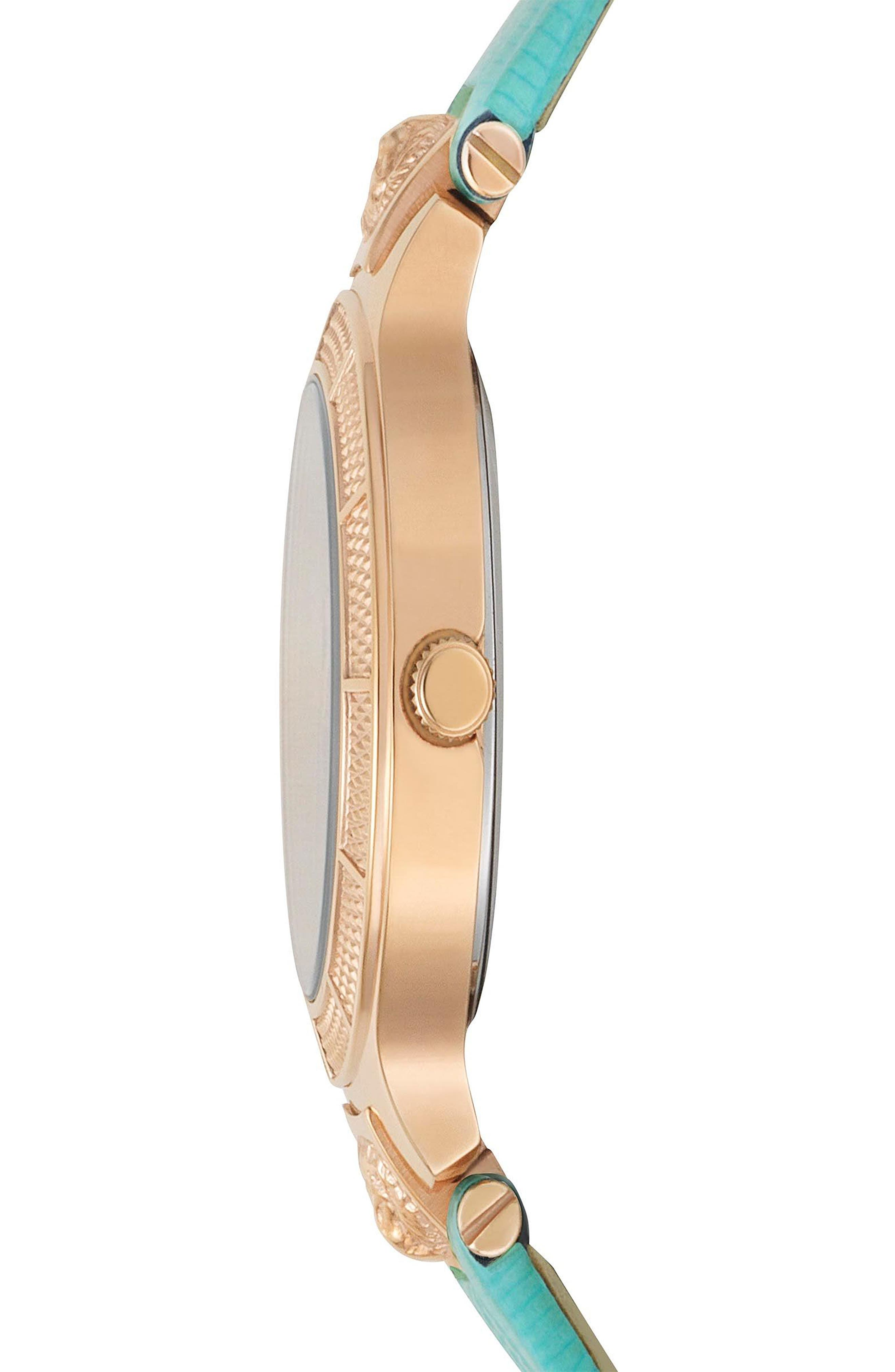 VERSUS VERSACE, Claremont Leather Strap Watch, 32mm, Alternate thumbnail 2, color, GREEN/ ROSE GOLD