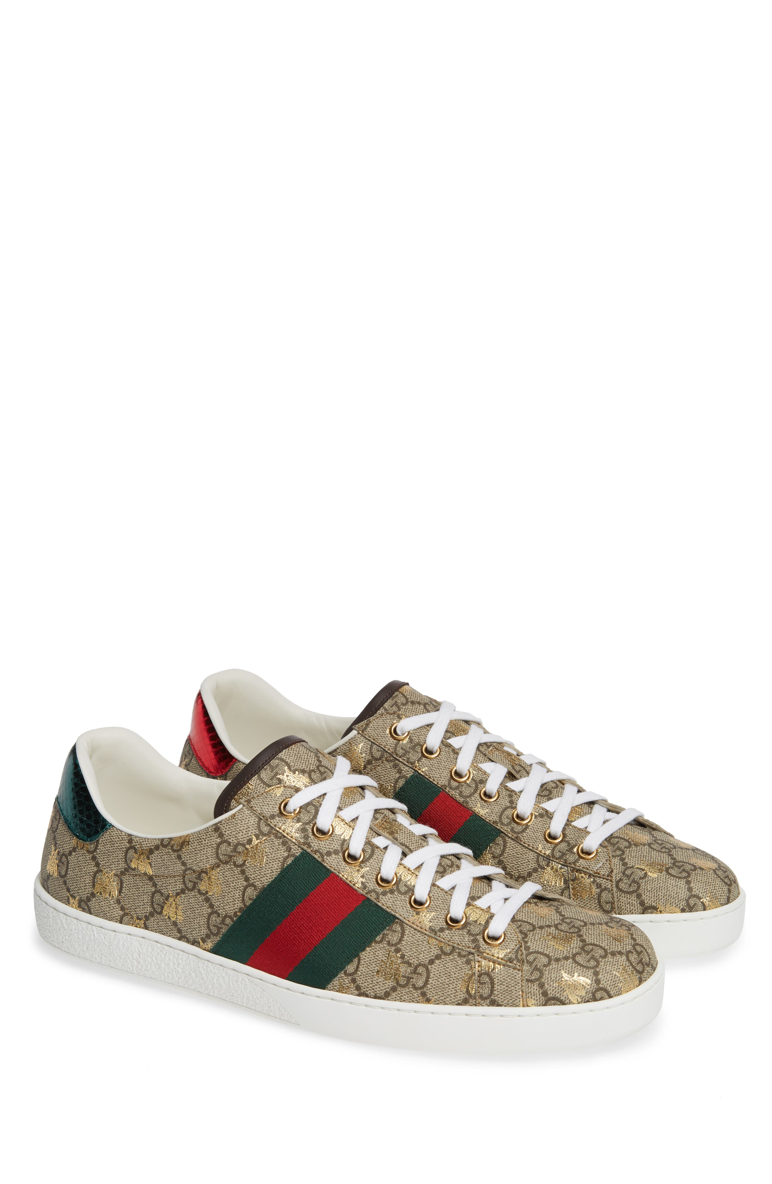 GUCCI, New Ace GG Supreme Sneaker, Main thumbnail 1, color, BEIGE/ GOLD