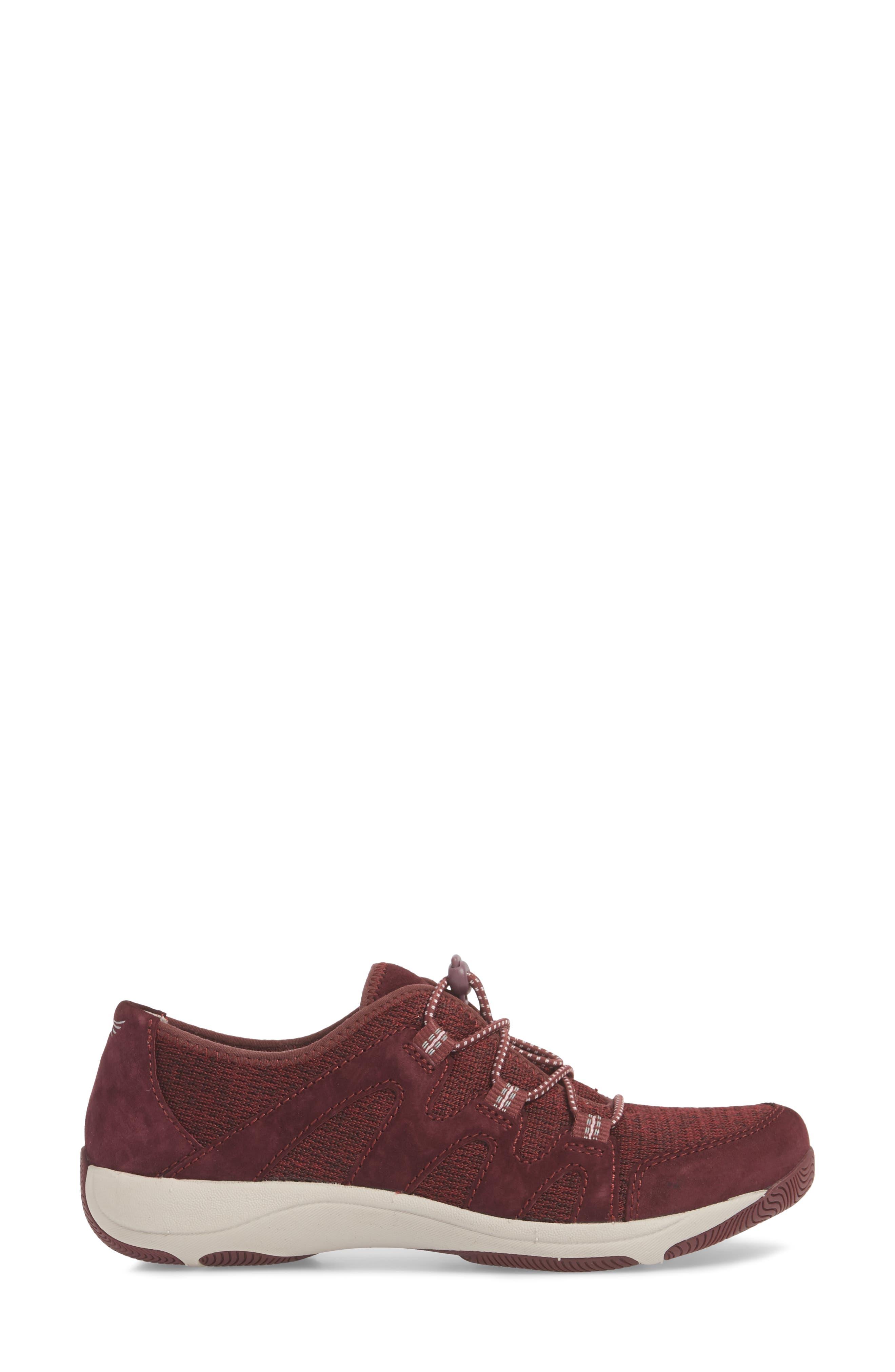 DANSKO, Holland Sneaker, Alternate thumbnail 3, color, WINE SUEDE
