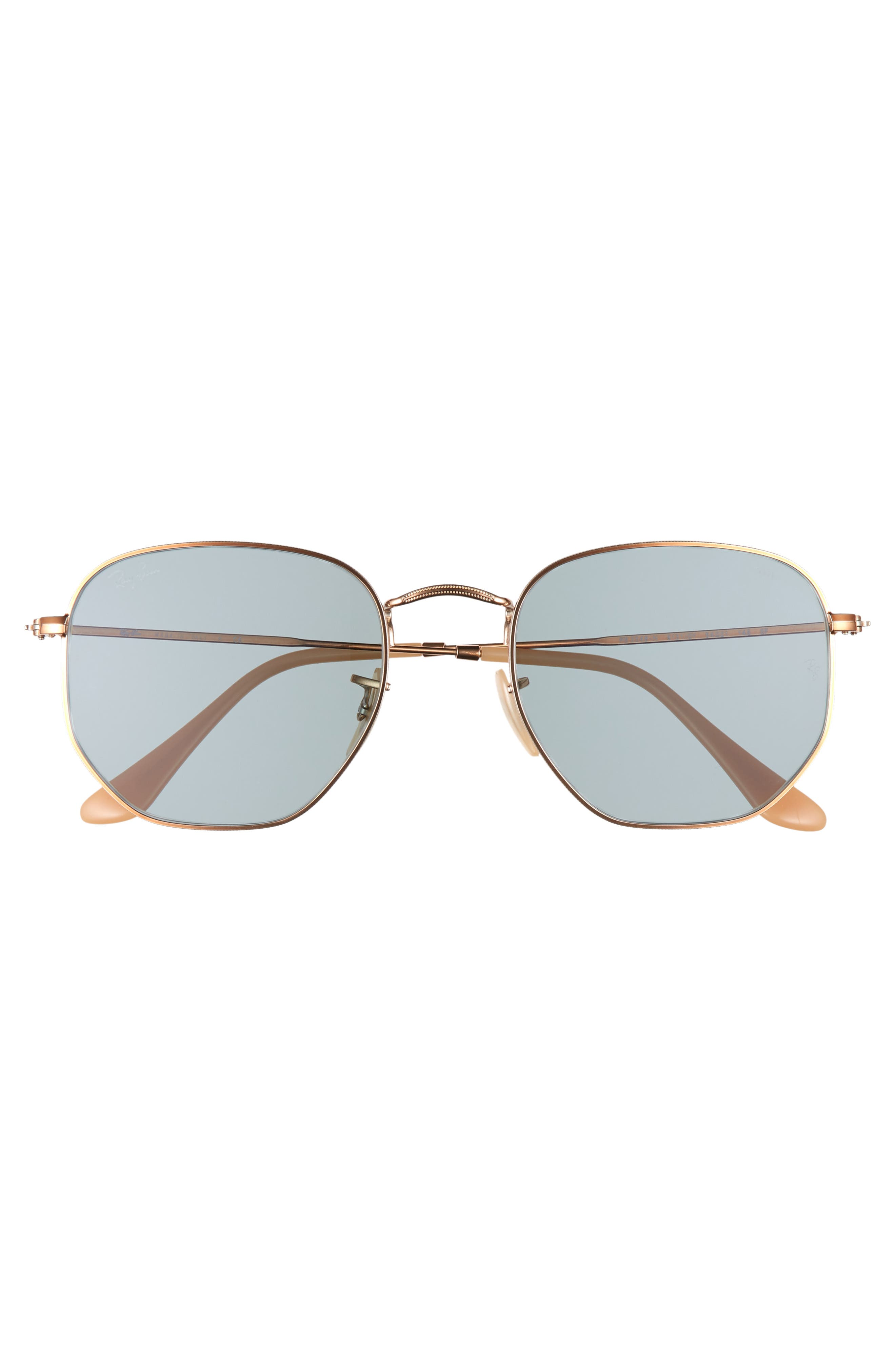 RAY-BAN, 54mm Evolve Photochromic Hexagon Sunglasses, Alternate thumbnail 3, color, GOLD/ LIGHT BLUE SOLID