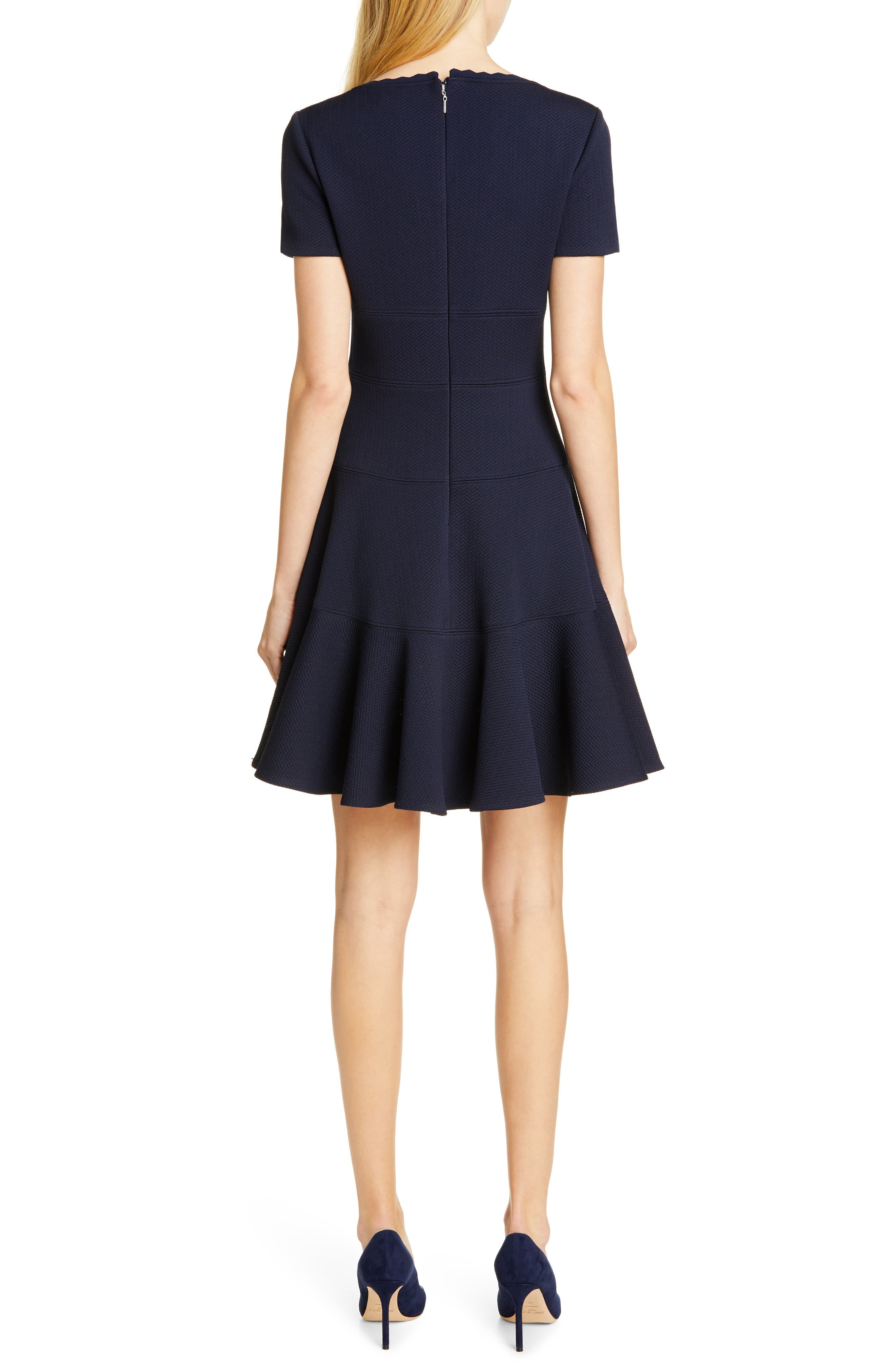 REBECCA TAYLOR, Textured Scallop Detail Fit & Flare Dress, Alternate thumbnail 2, color, NAVY