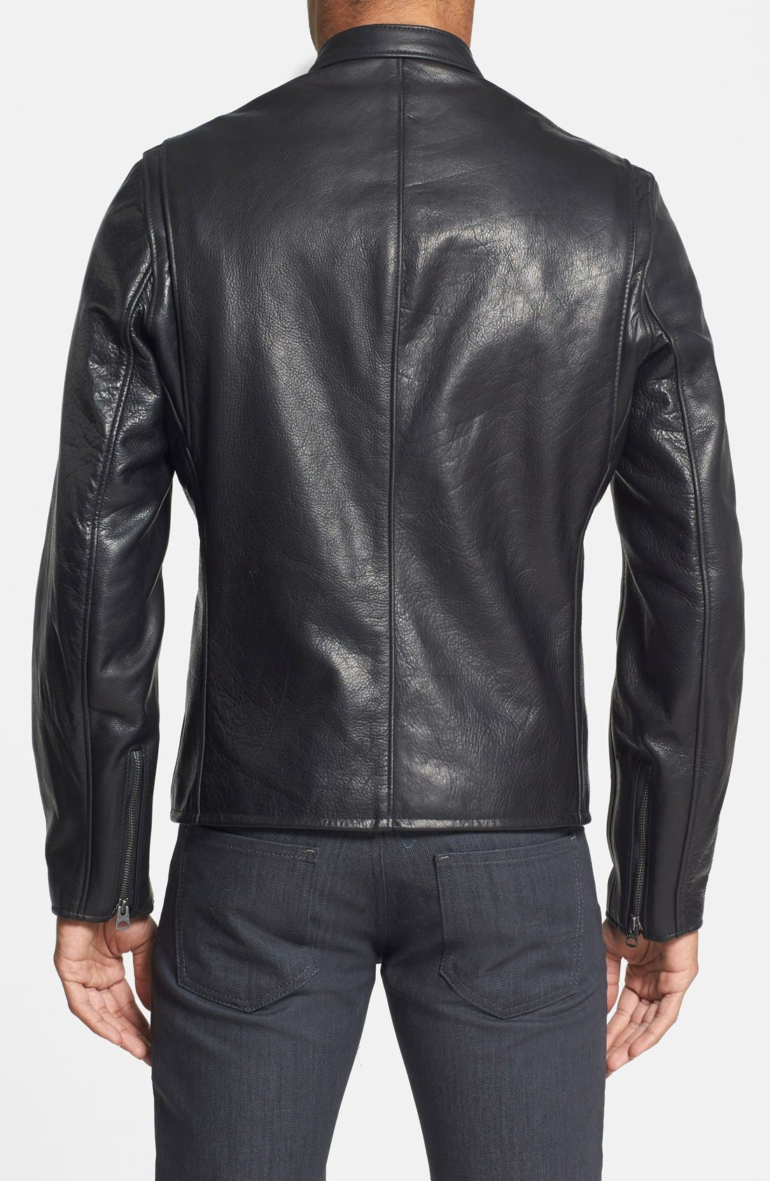 SCHOTT NYC, Café Racer Oil Tanned Cowhide Leather Moto Jacket, Alternate thumbnail 3, color, BLACK