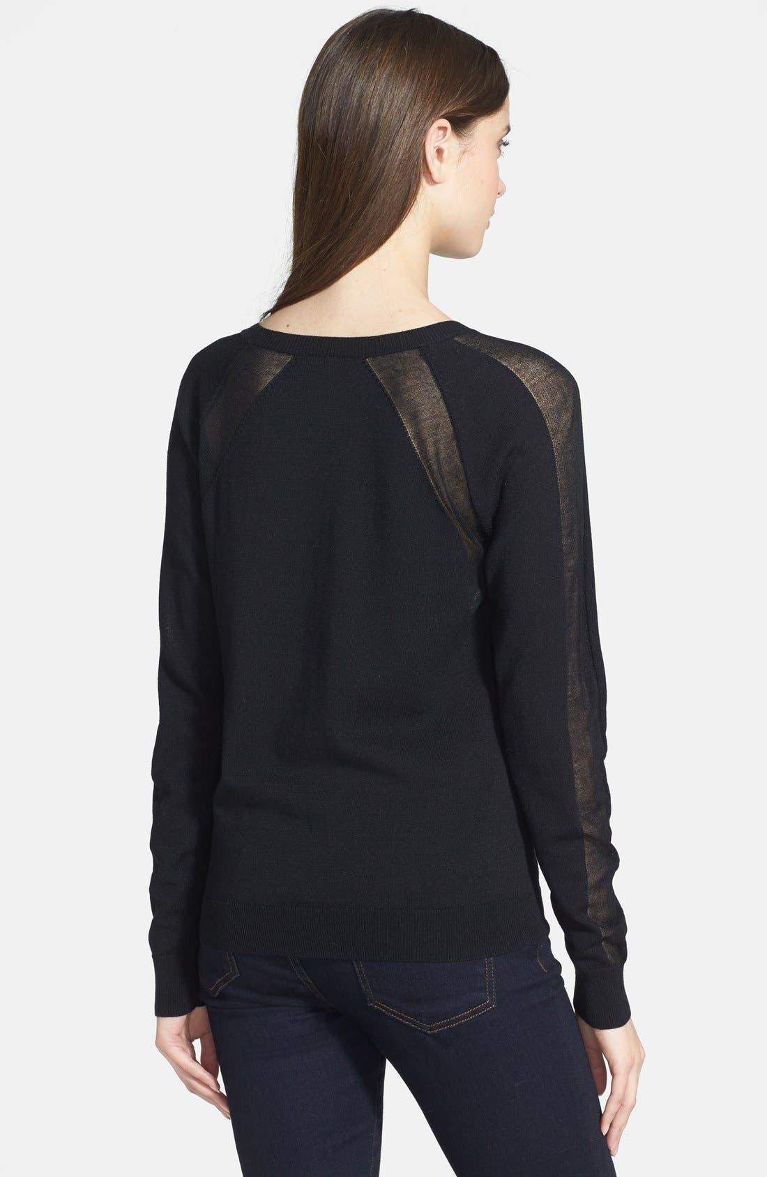 HALOGEN<SUP>®</SUP>, Semi-Sheer Inset Sweater, Alternate thumbnail 3, color, 001