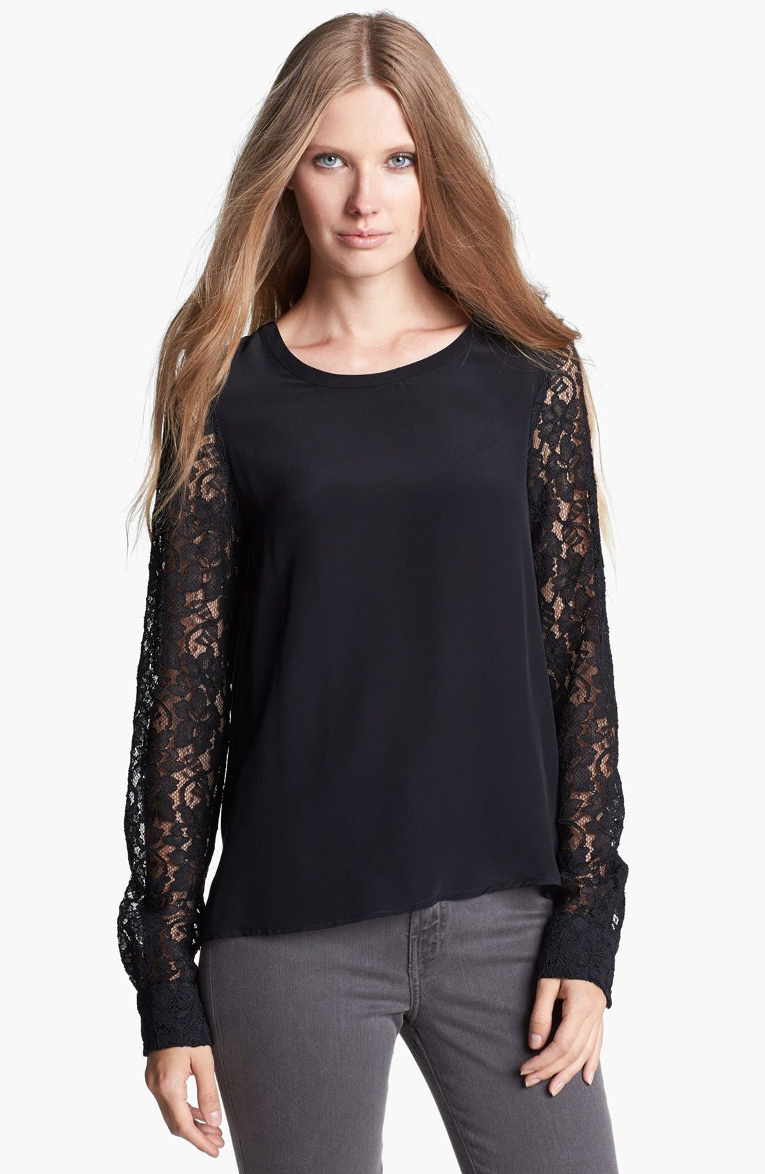 DIANE VON FURSTENBERG 'Louisa' Lace Sleeve Silk Top, Main, color, 001
