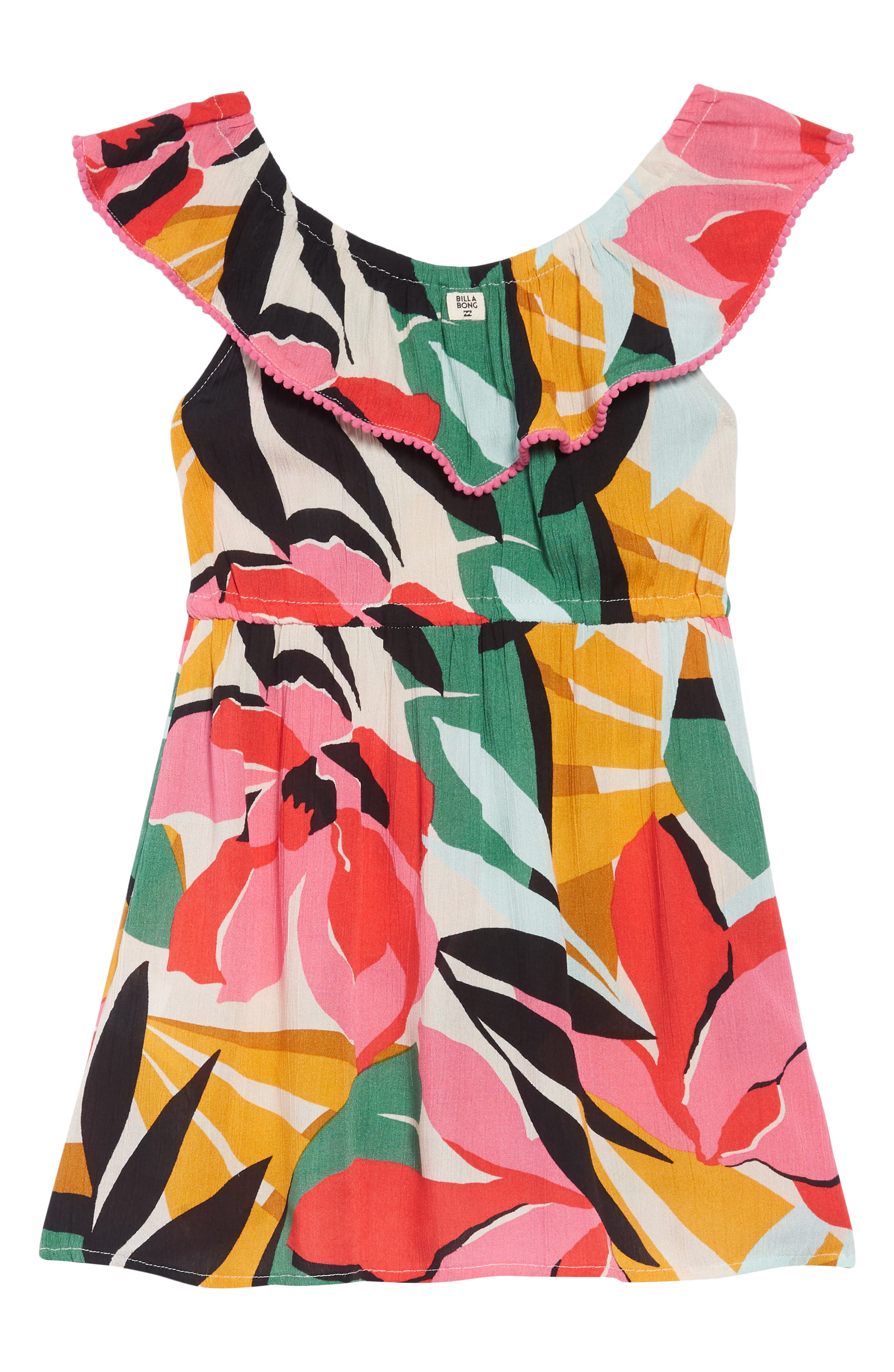 BILLABONG, Under the Palms Ruffle Dress, Main thumbnail 1, color, MULTI
