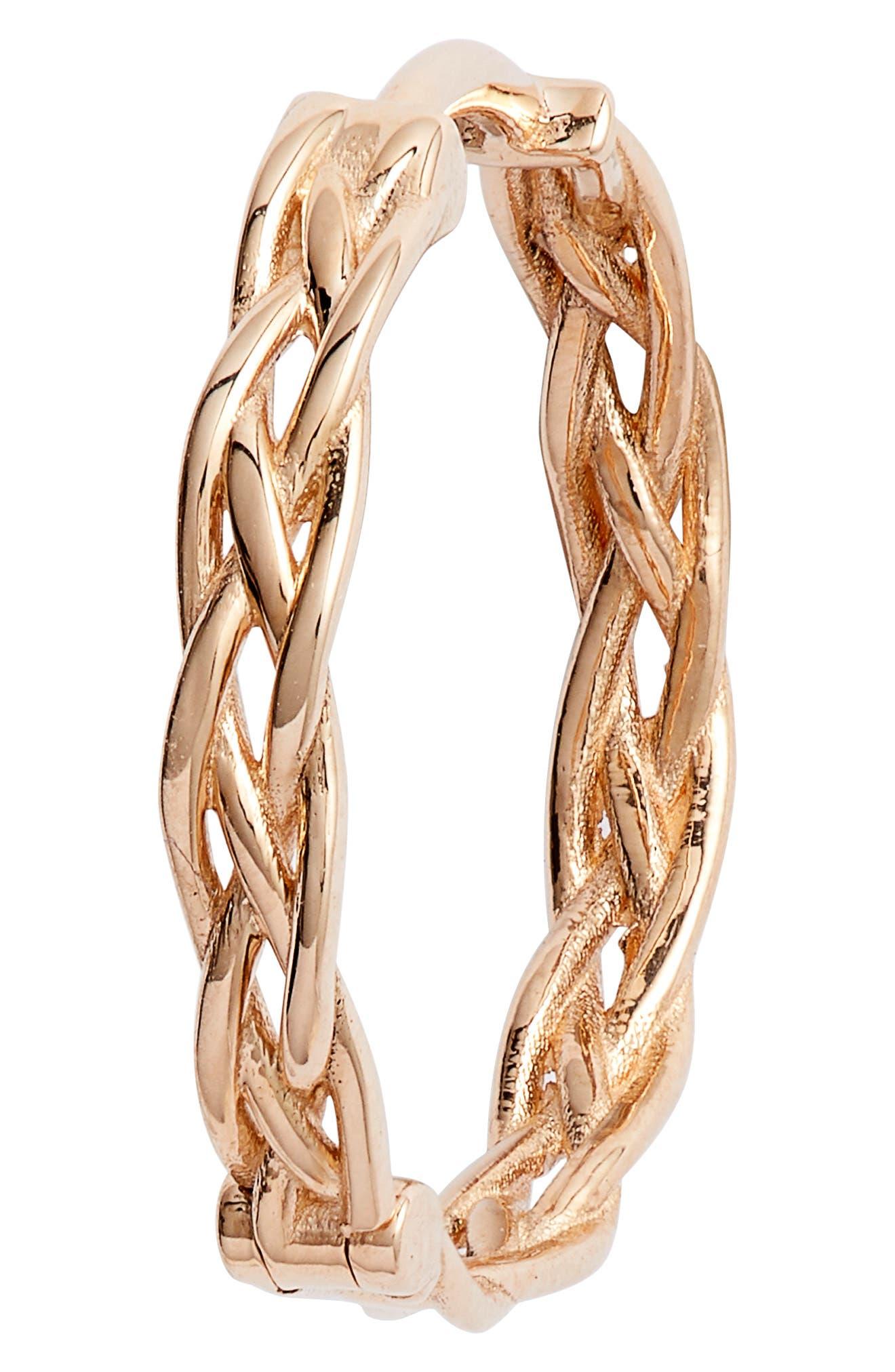 KISMET BY MILKA, Large Braided Hoop Earrings, Alternate thumbnail 3, color, ROSE GOLD