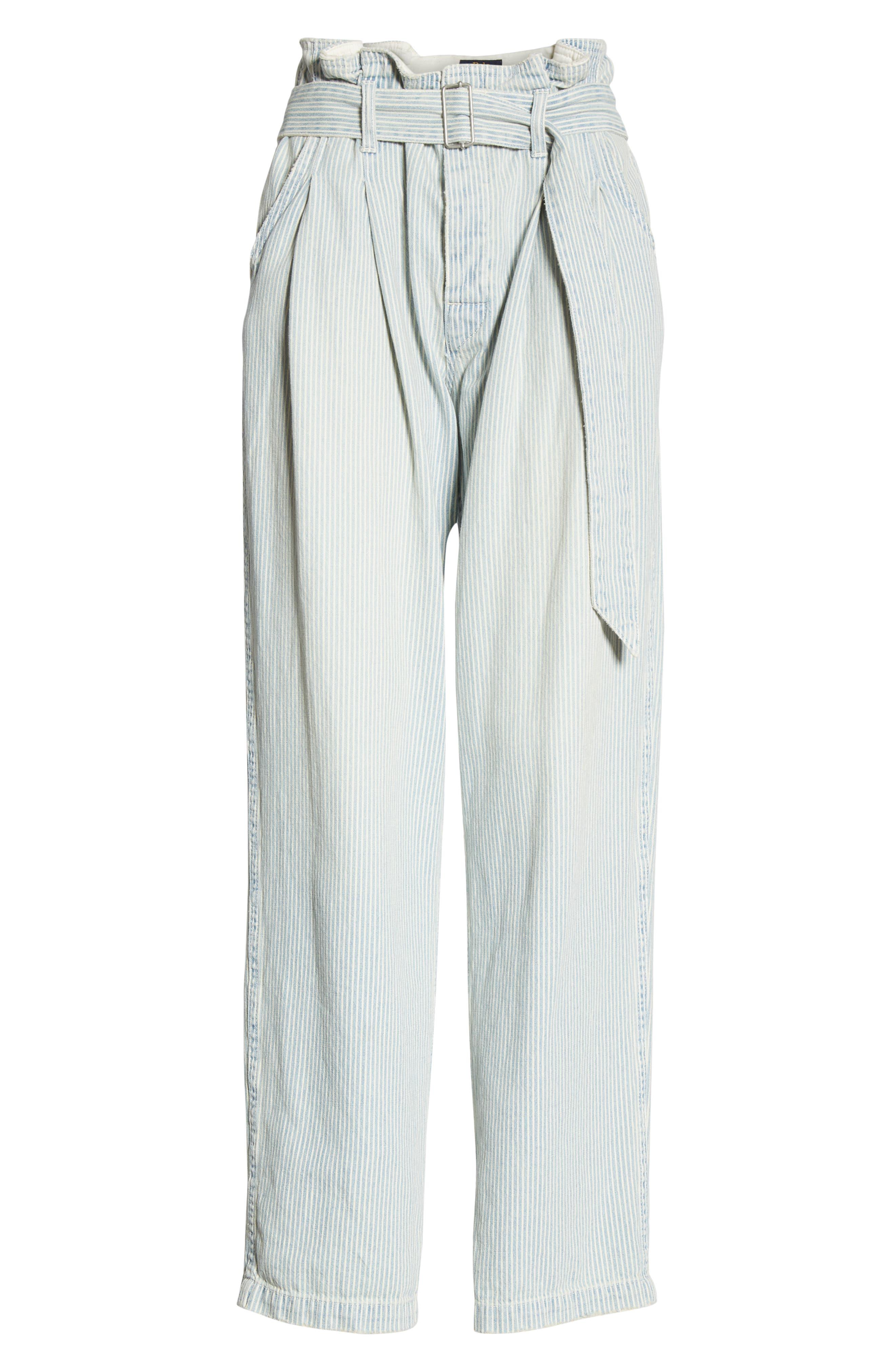 POLO RALPH LAUREN, Paperbag Waist Jeans, Alternate thumbnail 7, color, RAILROAD STRIPE