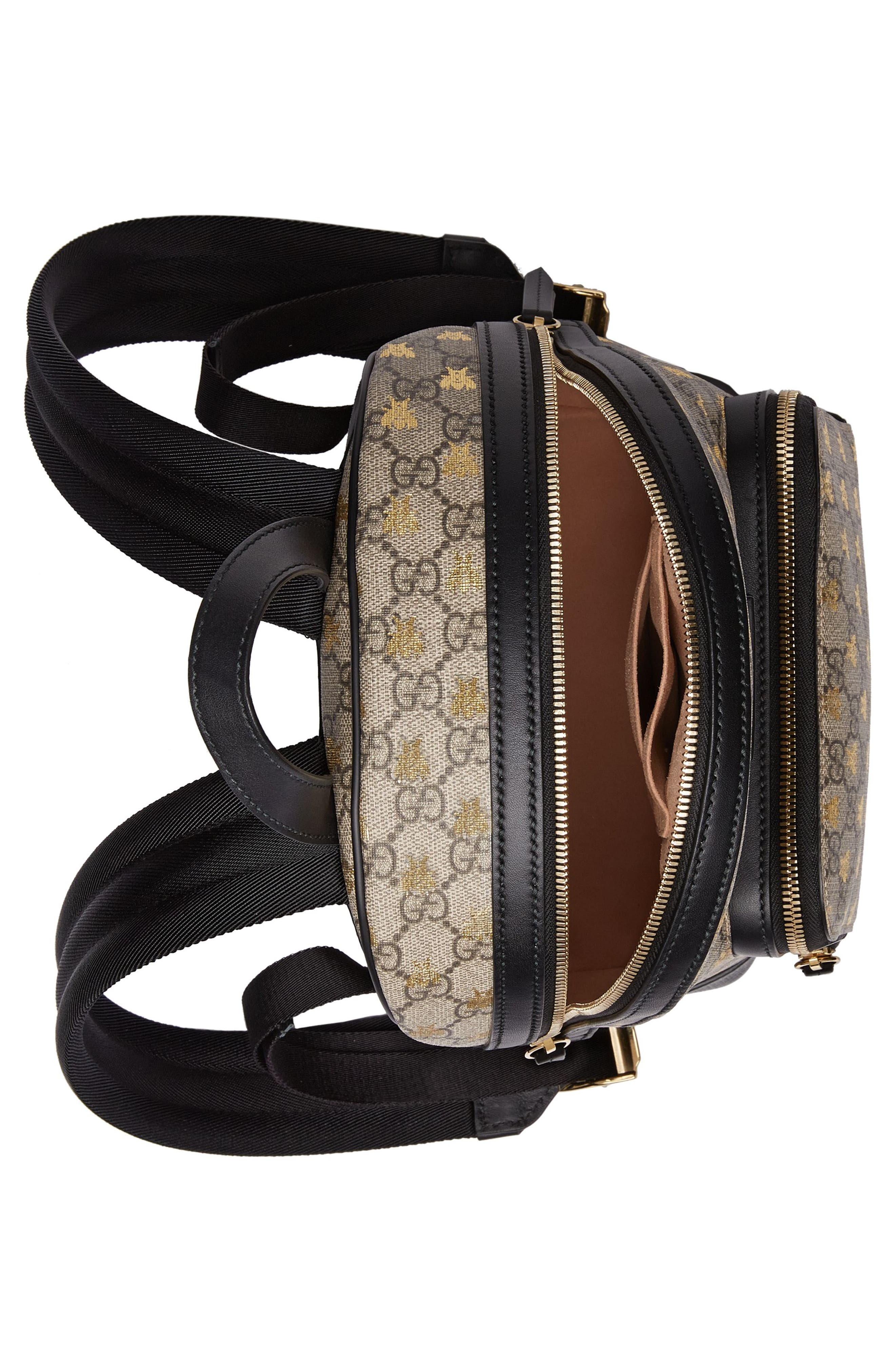 GUCCI, Bee GG Supreme Canvas Backpack, Alternate thumbnail 3, color, 250