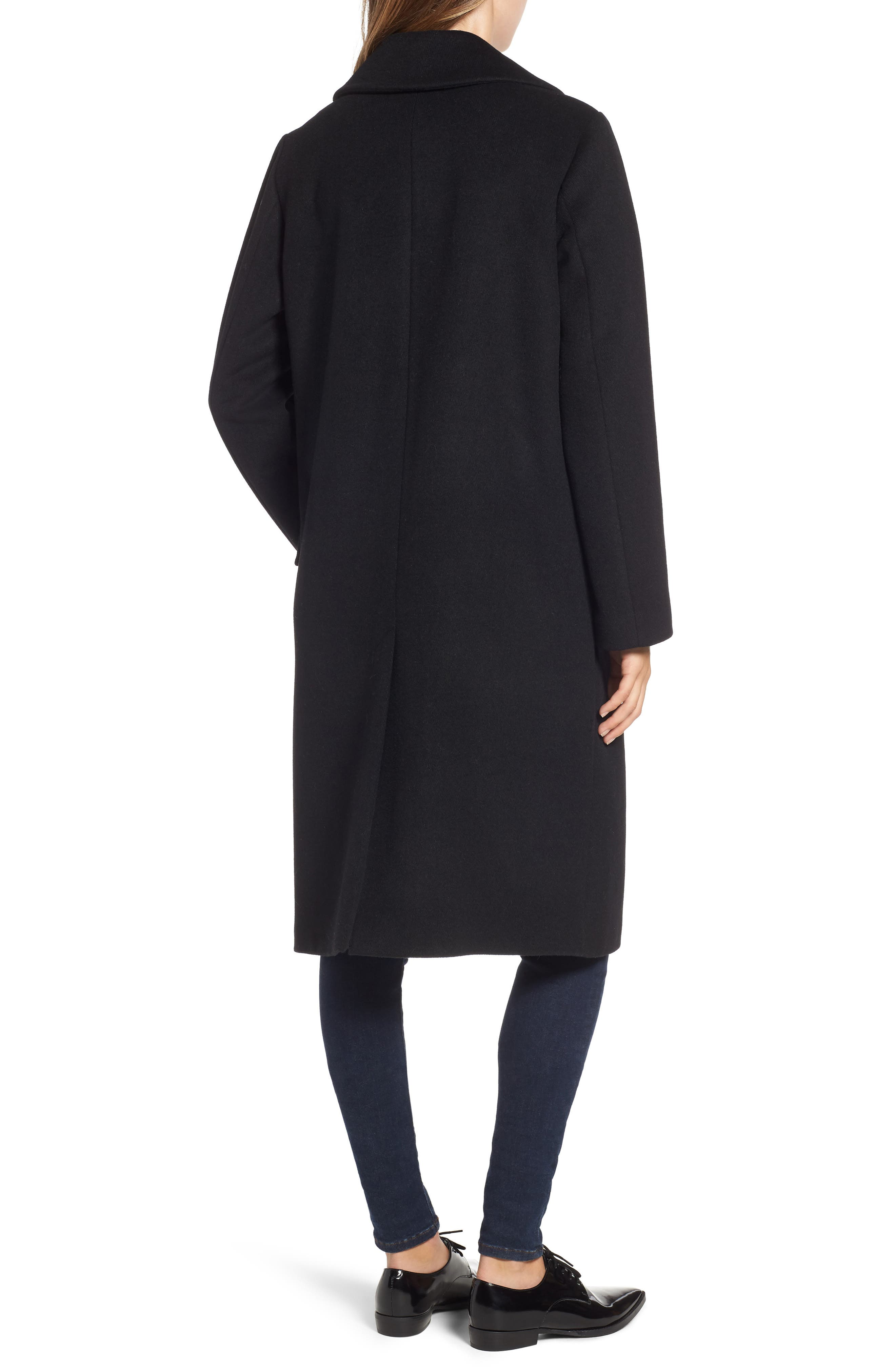 RACHEL RACHEL ROY, Wool Blend Coat, Alternate thumbnail 2, color, BLACK