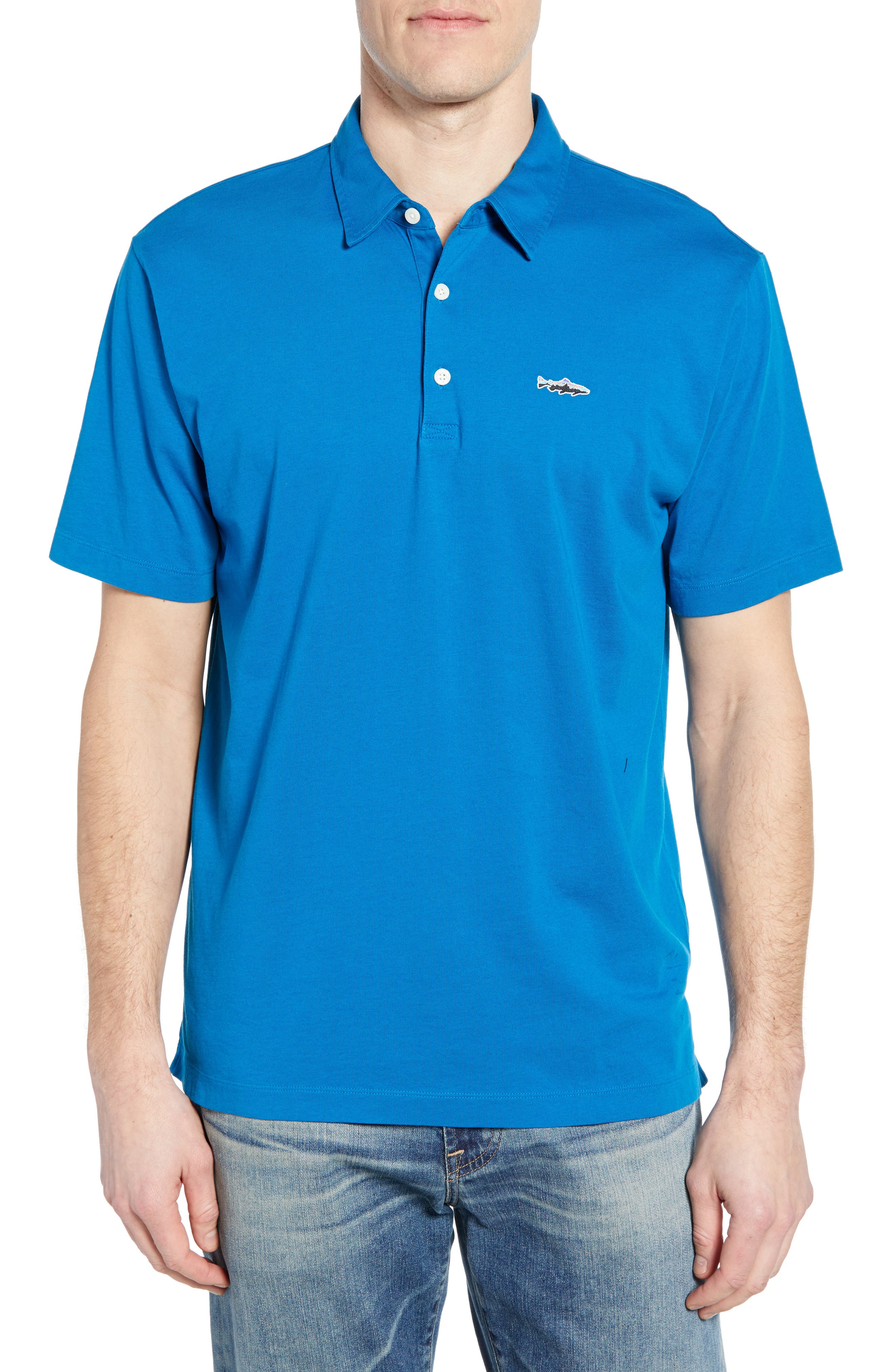 PATAGONIA 'Trout Fitz Roy' Organic Cotton Polo, Main, color, BALKAN BLUE