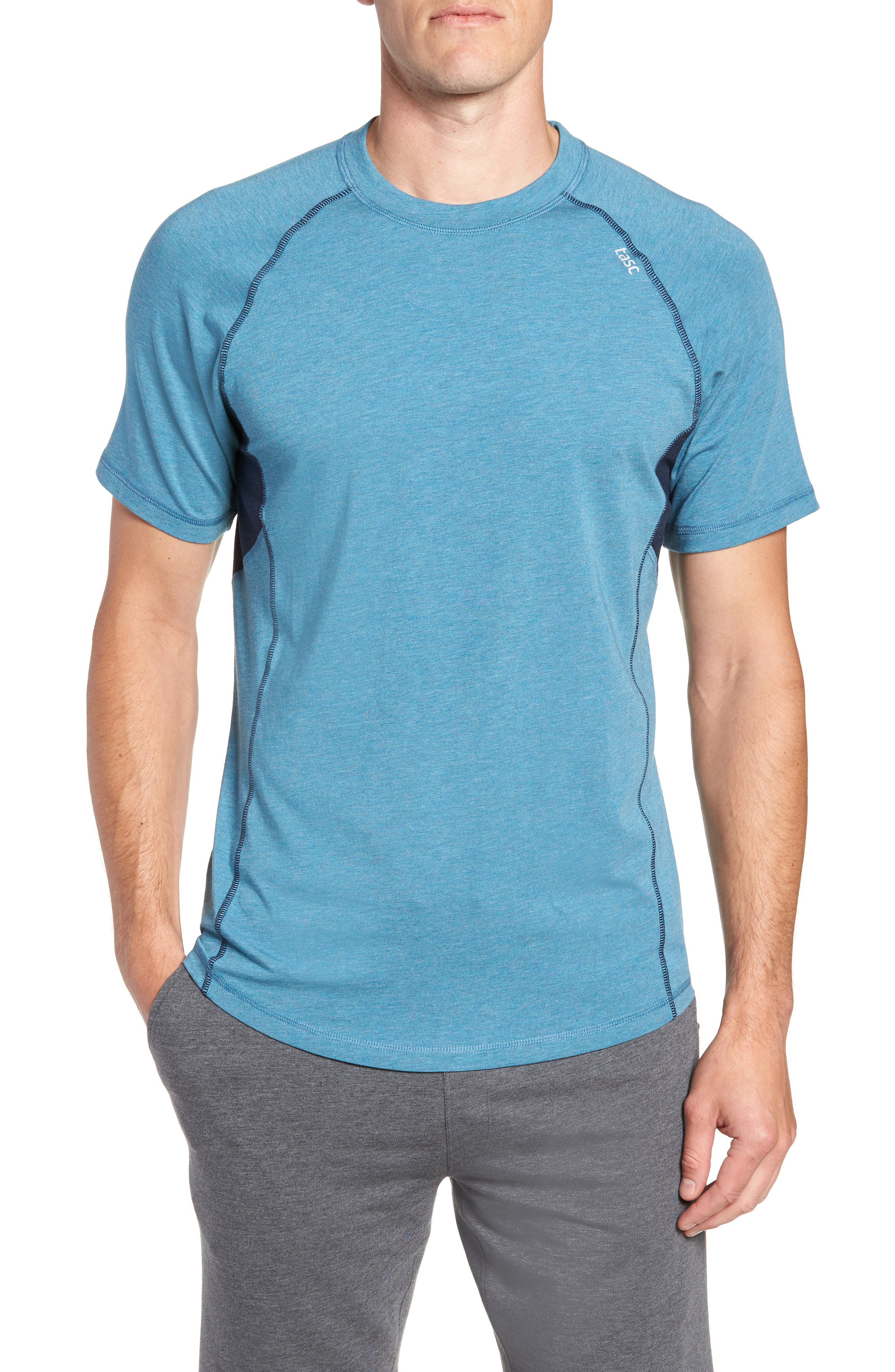 TASC PERFORMANCE Charge II T-Shirt, Main, color, TRANQUILITY SEA HEATHER