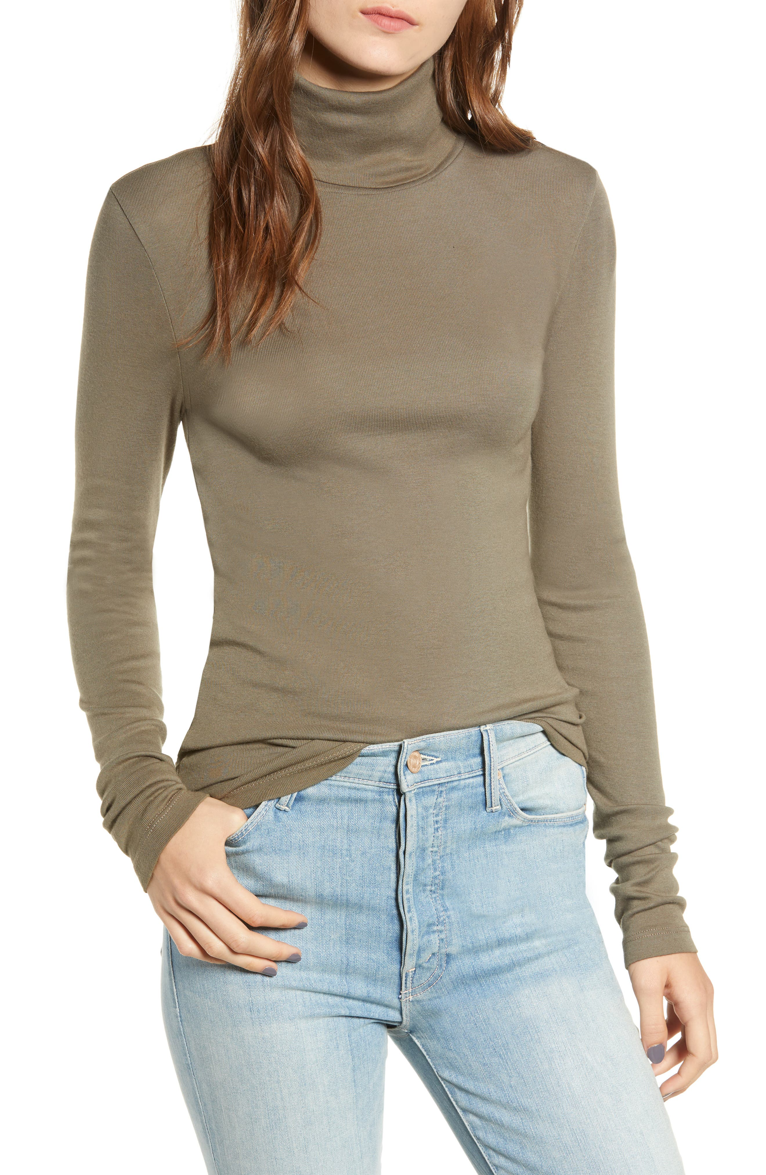 SPLENDID, Fitted Turtleneck, Main thumbnail 1, color, MILITARY OLIVE