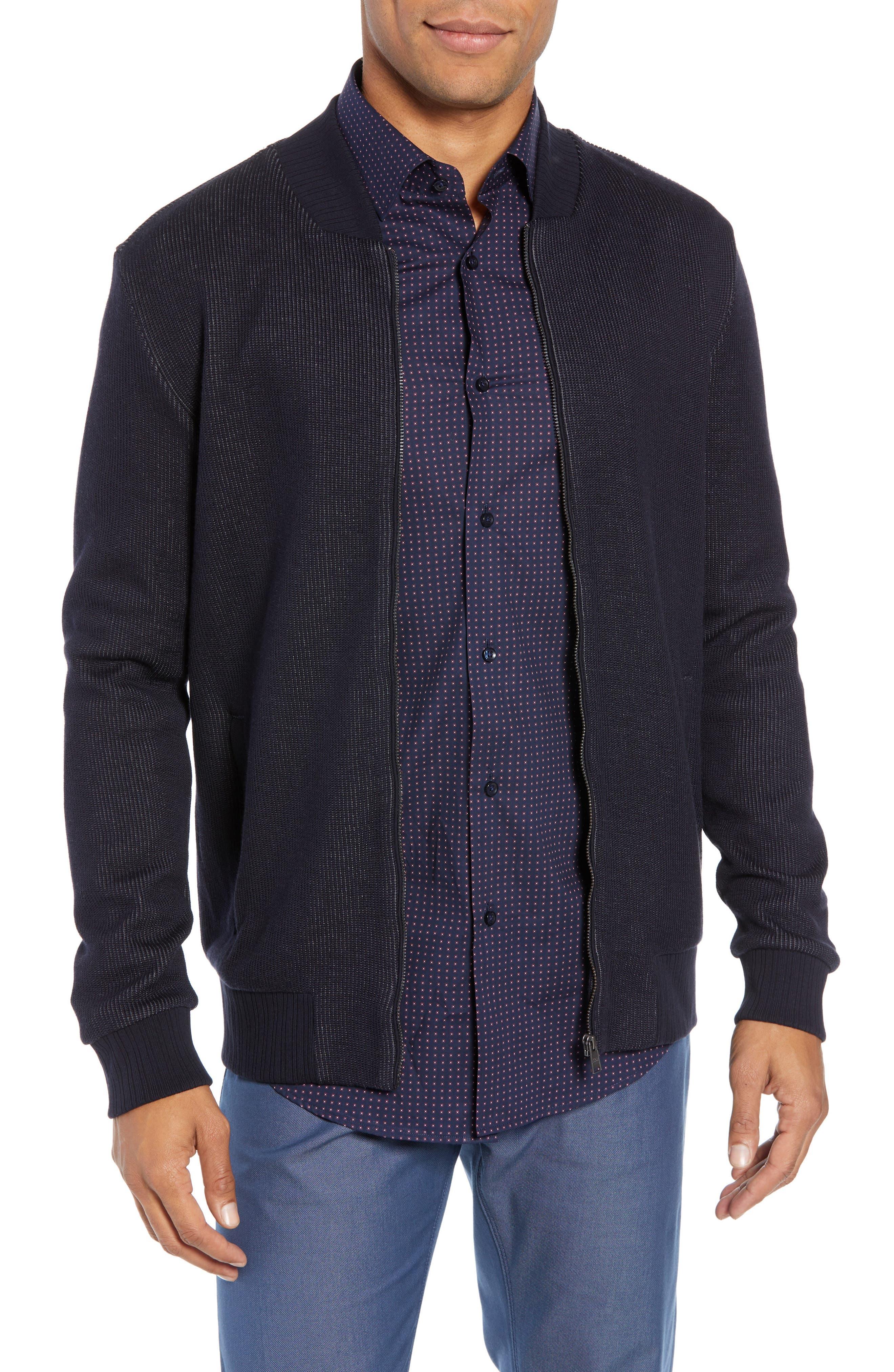BOSS, Salea Slim Fit Sweatshirt Jacket, Main thumbnail 1, color, BLUE