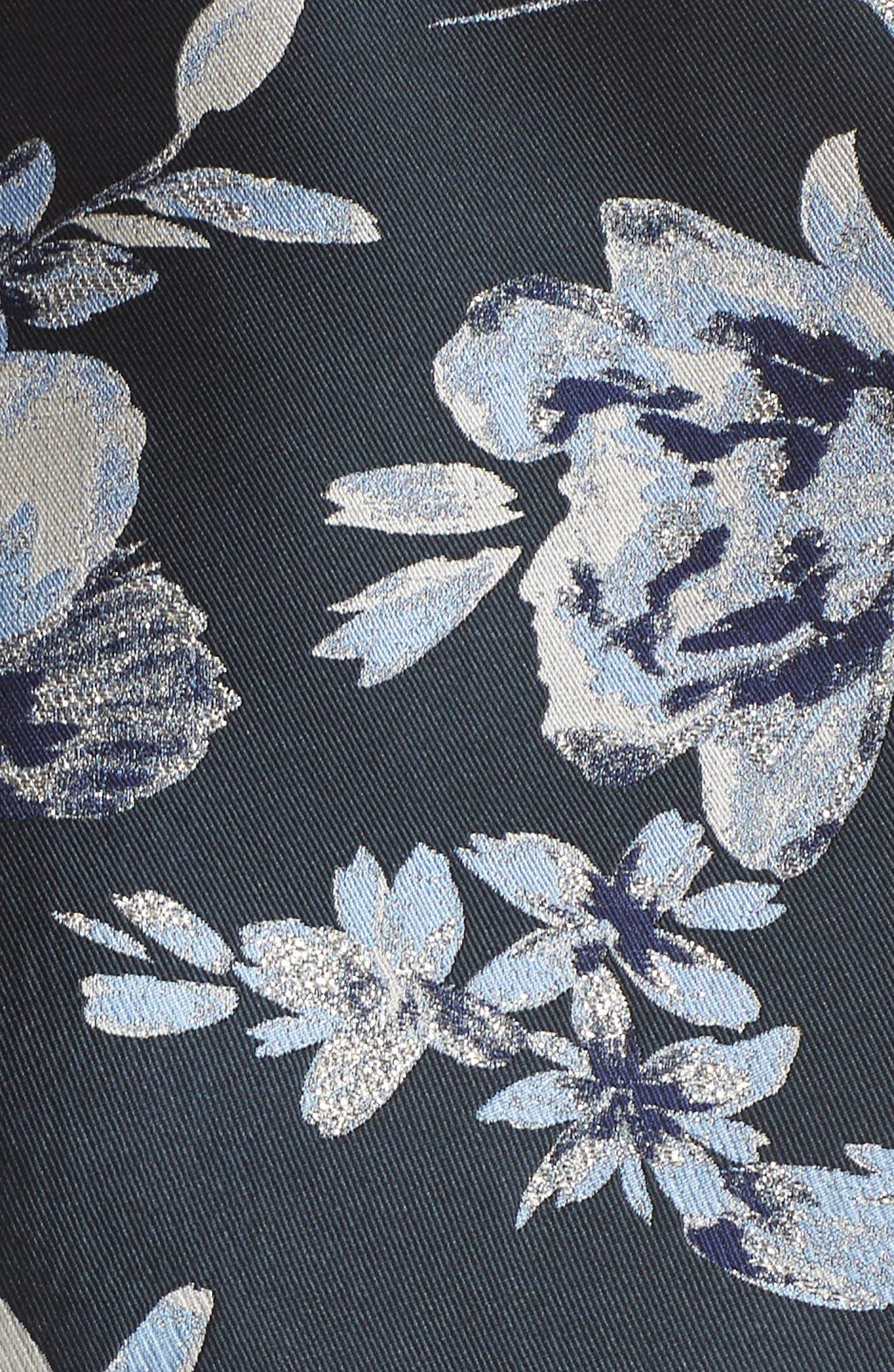ELIZA J, Metallic Floral Belted Fit & Flare Dress, Alternate thumbnail 6, color, NAVY