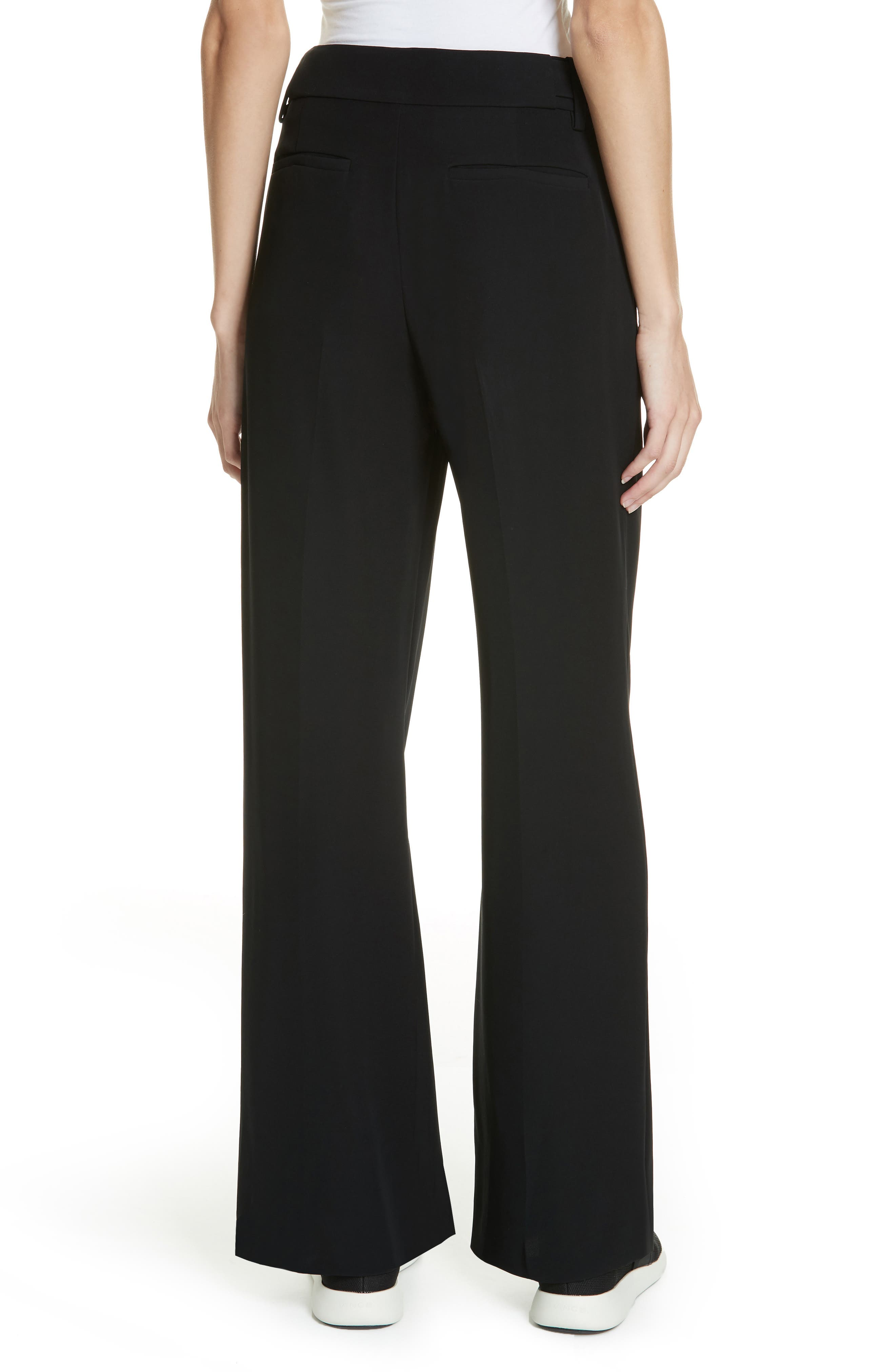 VINCE, Relaxed Wide Leg Trousers, Alternate thumbnail 2, color, BLACK
