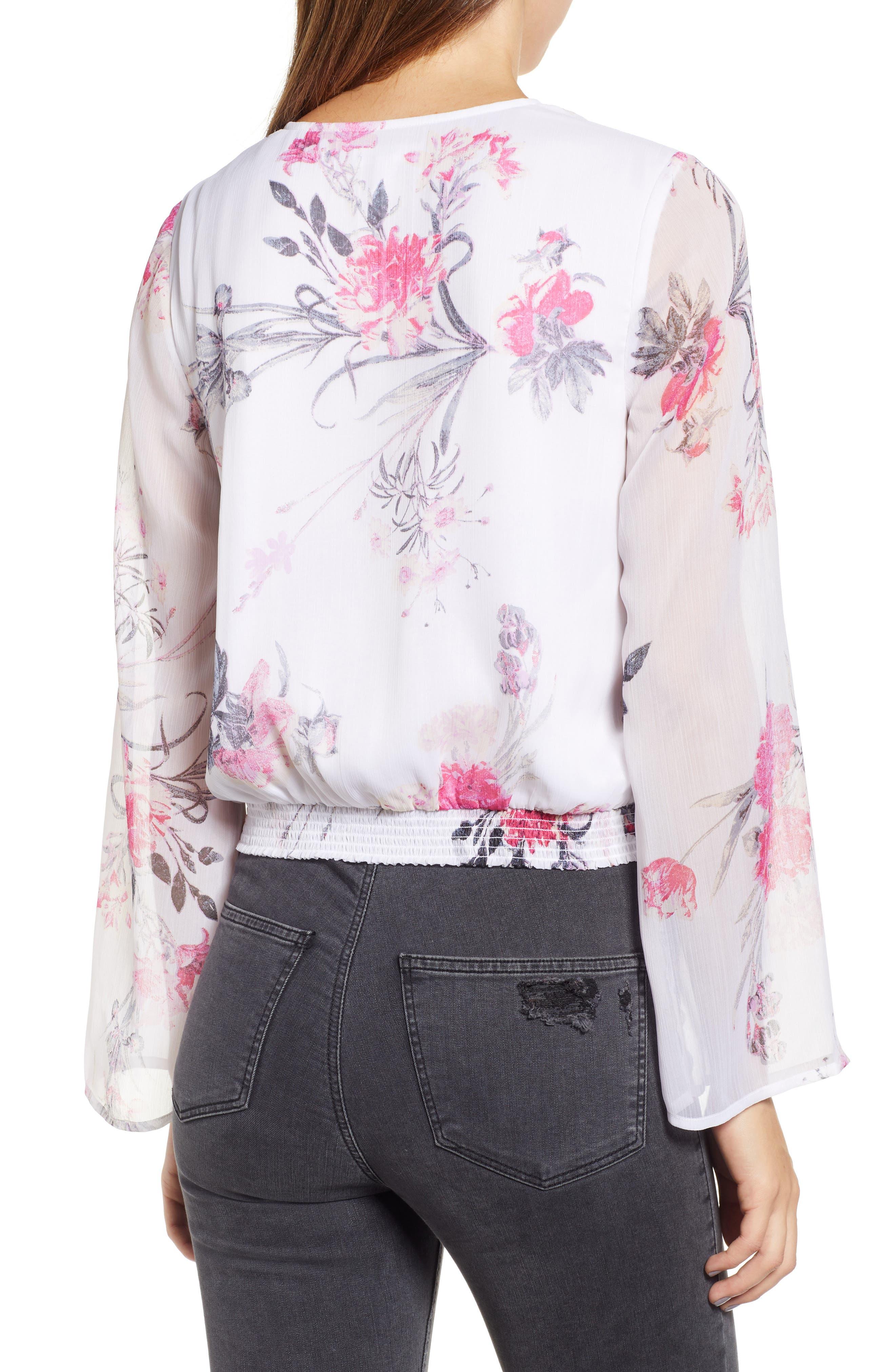 LEITH, Floral Faux Wrap Top, Alternate thumbnail 2, color, WHITE ROMANTIC BLOOMS