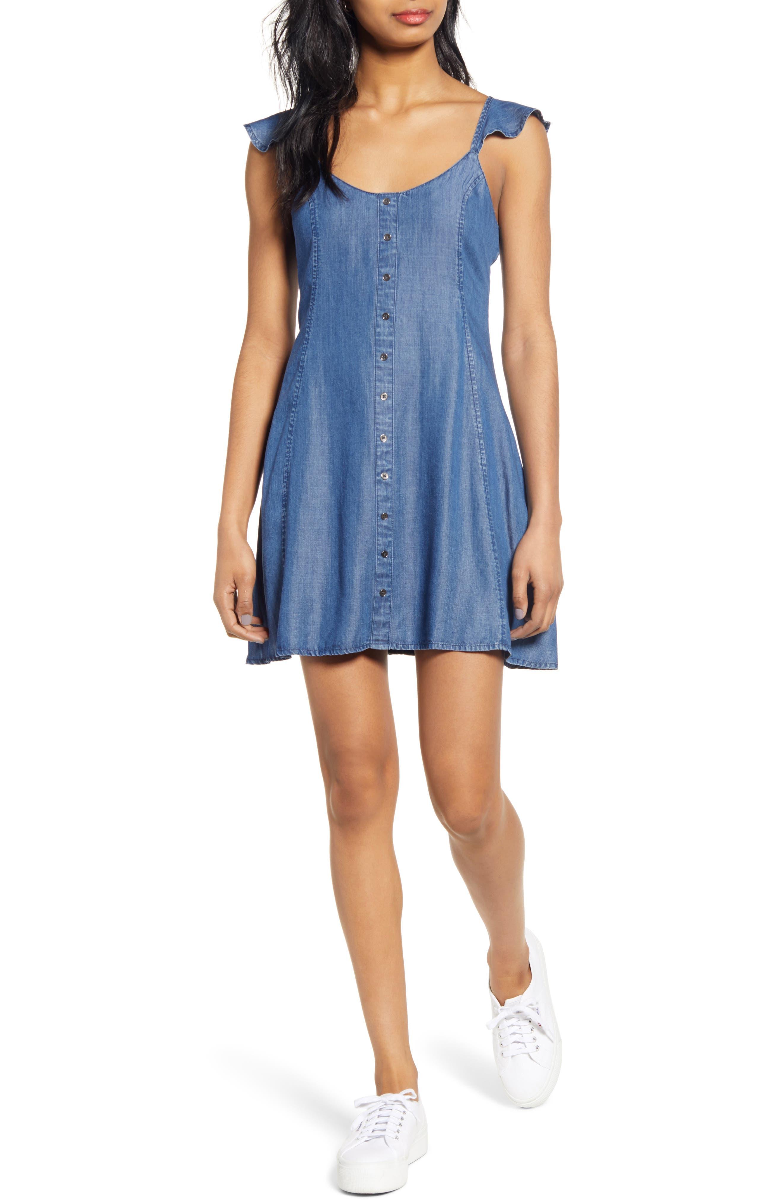 Love, Fire Ruffle Strap Chambray Minidress, Blue