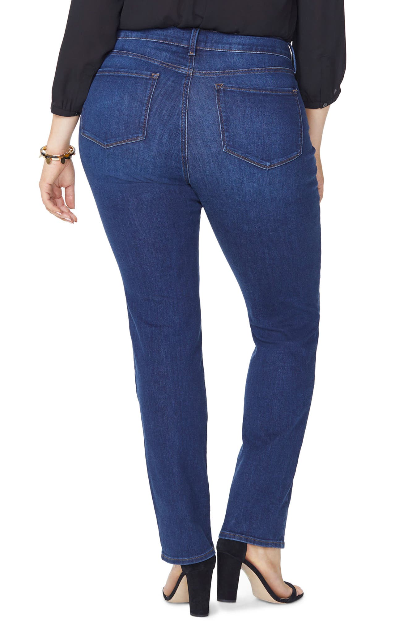 NYDJ, Marilyn High Rise Straight Leg Jeans, Alternate thumbnail 2, color, COOPER