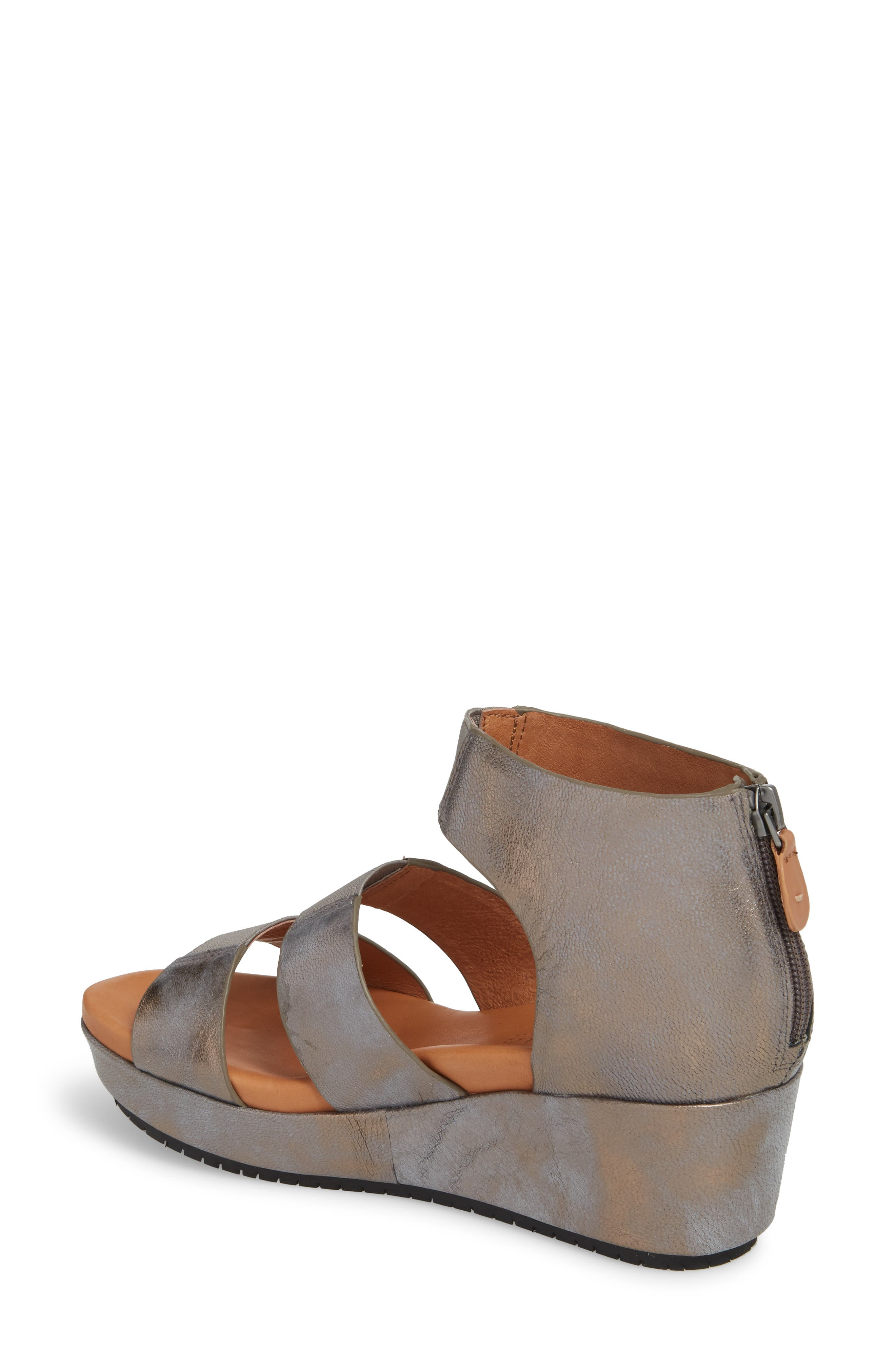 GENTLE SOULS BY KENNETH COLE, Milena Wedge Sandal, Alternate thumbnail 2, color, PEWTER METALLIC LEATHER