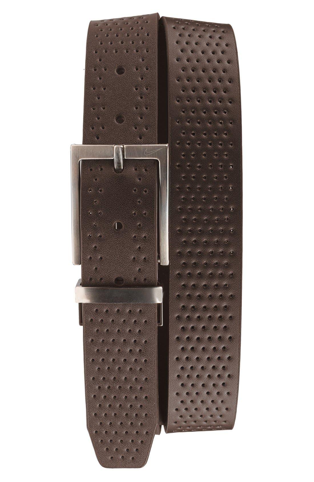 NIKE, Reversible Leather Belt, Alternate thumbnail 2, color, BLACK/ BROWN