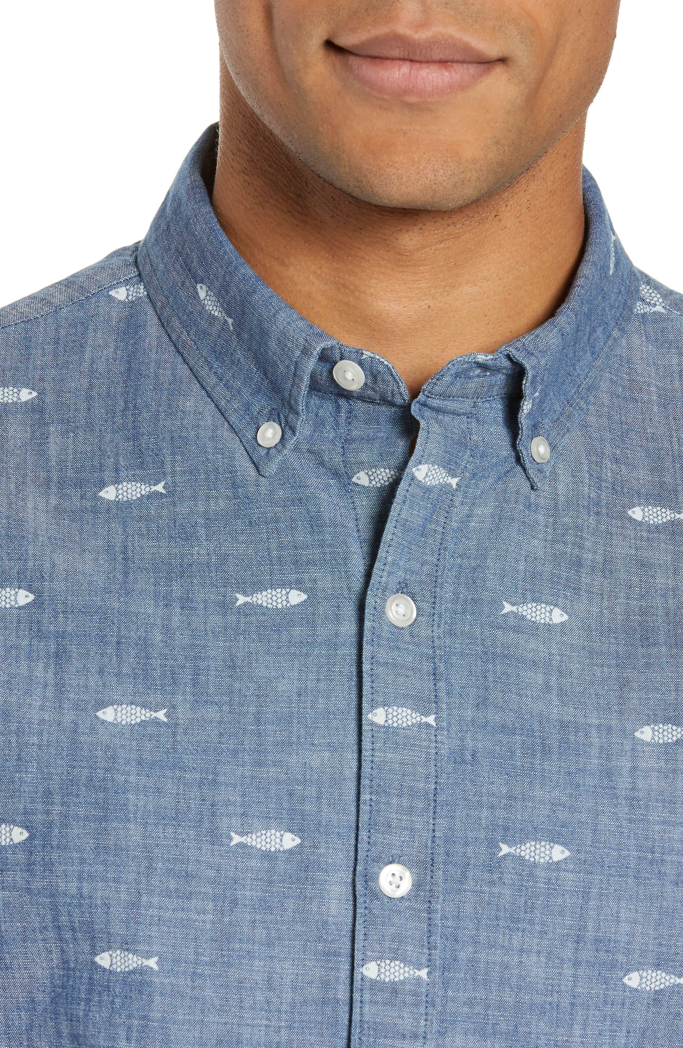 BONOBOS, Riviera Slim Fit Print Sport Shirt, Alternate thumbnail 2, color, CHAMBRAY SARDEEN SCATTER
