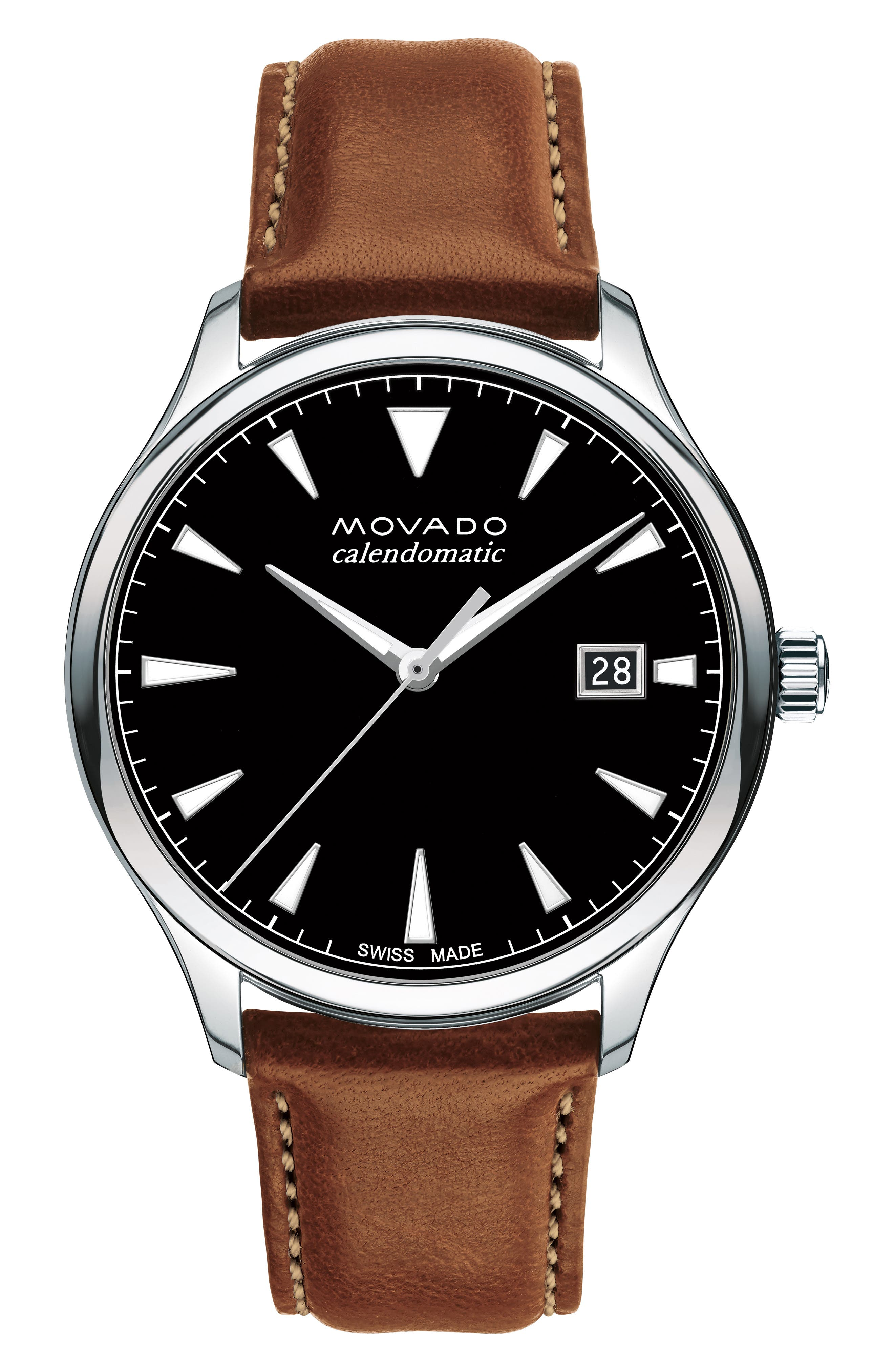 MOVADO, Heritage Leather Strap Watch, 40mm, Main thumbnail 1, color, COGNAC/ BLACK/ SILVER