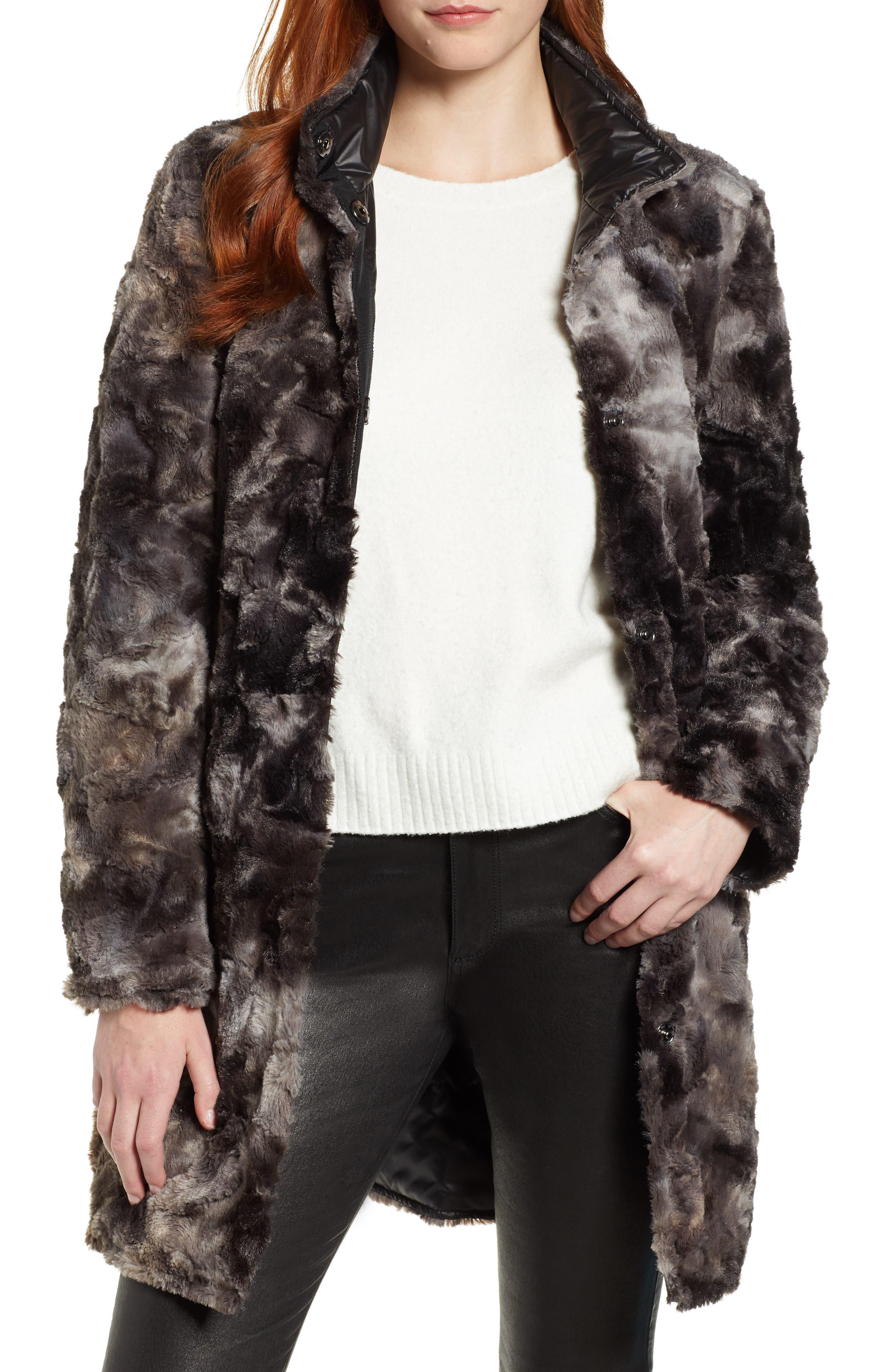 VIA SPIGA Reversible Faux Marled Fur Coat, Main, color, MARLED