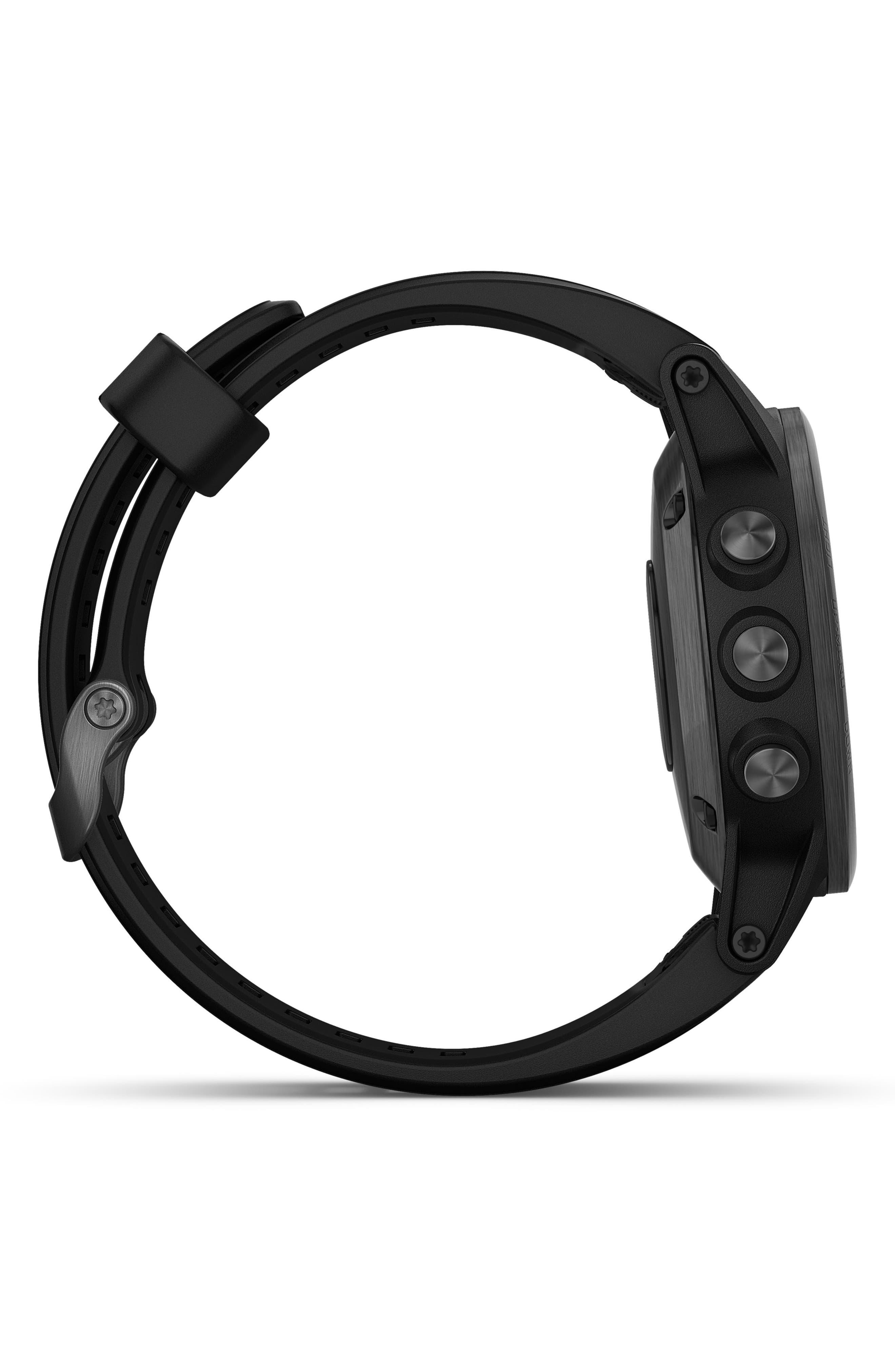 GARMIN, fenix<sup>®</sup> 5S Plus Sapphire Premium Multisport GPS Watch, 42mm, Alternate thumbnail 3, color, BLACK
