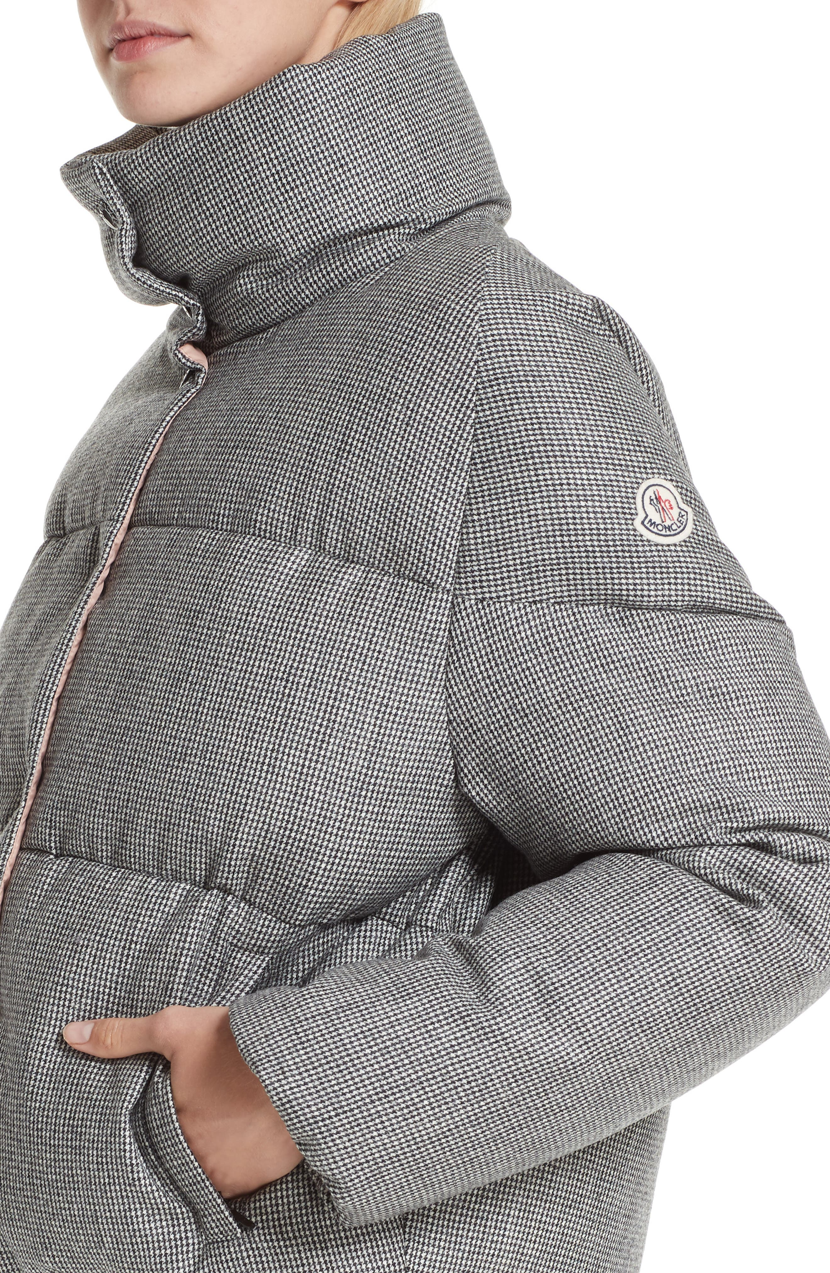 MONCLER, Cer Wool Down Puffer Jacket, Alternate thumbnail 4, color, 001