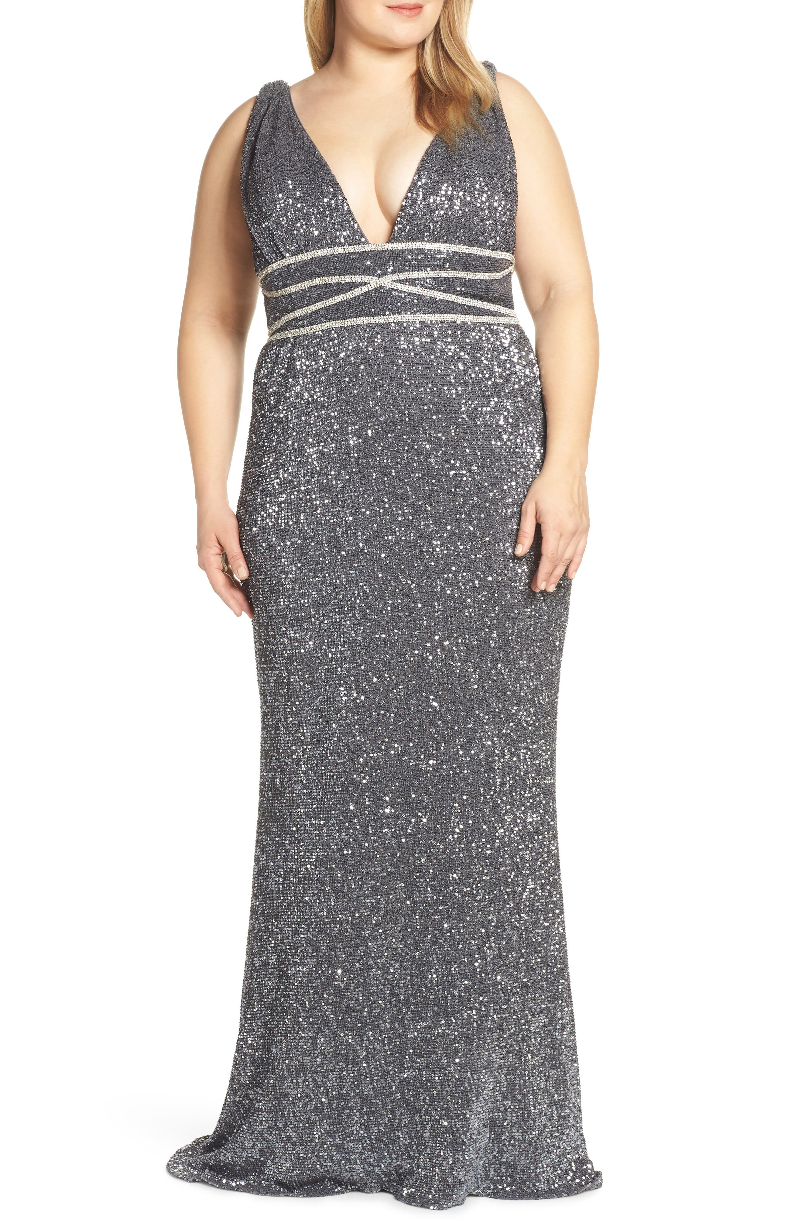 Plus Size MAC Duggal Beaded Waist Sequin Evening Dress, Grey