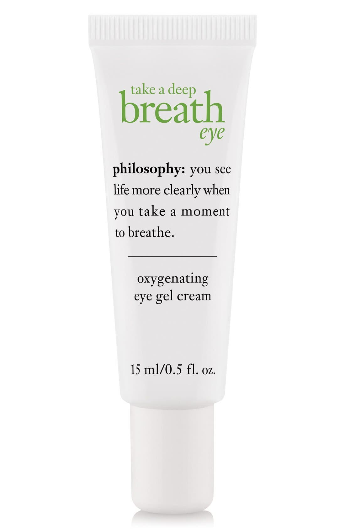 PHILOSOPHY, 'take a deep breath' oxygenating eye gel cream, Main thumbnail 1, color, NO COLOR