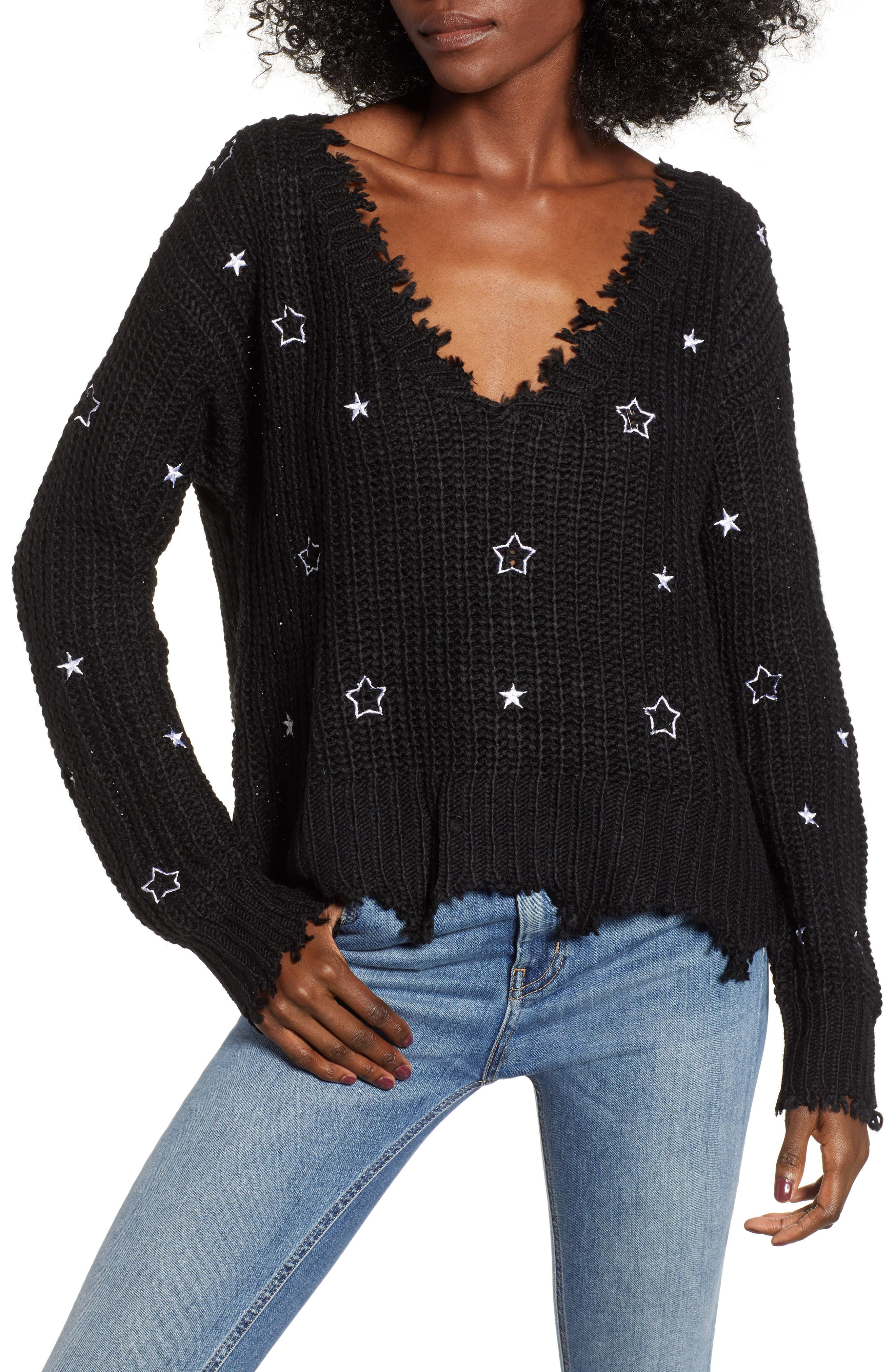 4SI3NNA, Star Sweater, Main thumbnail 1, color, 001