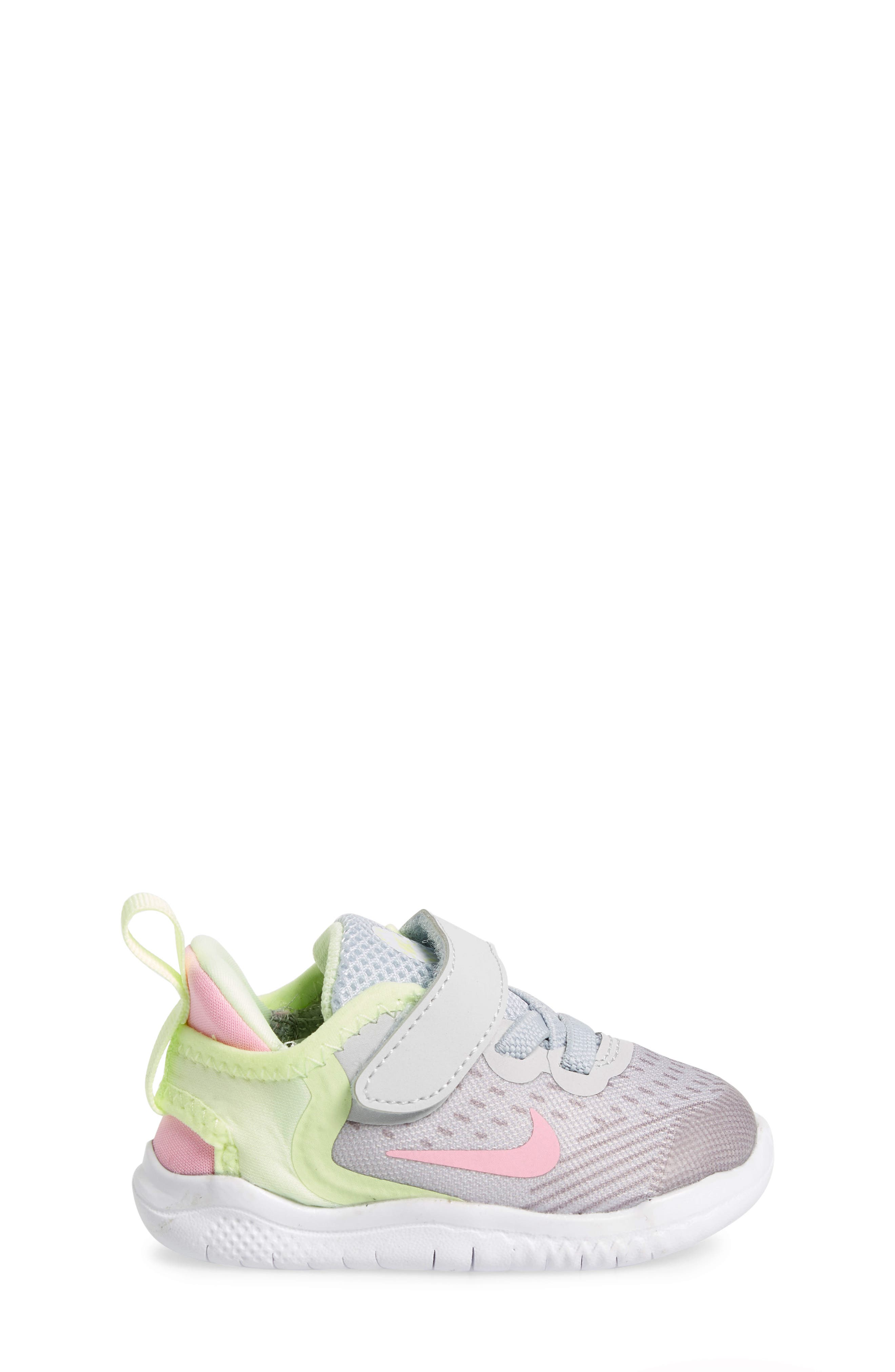 NIKE, Free RN Running Shoe, Alternate thumbnail 3, color, PURE PLATINUM/ PINK RISE-VOLT