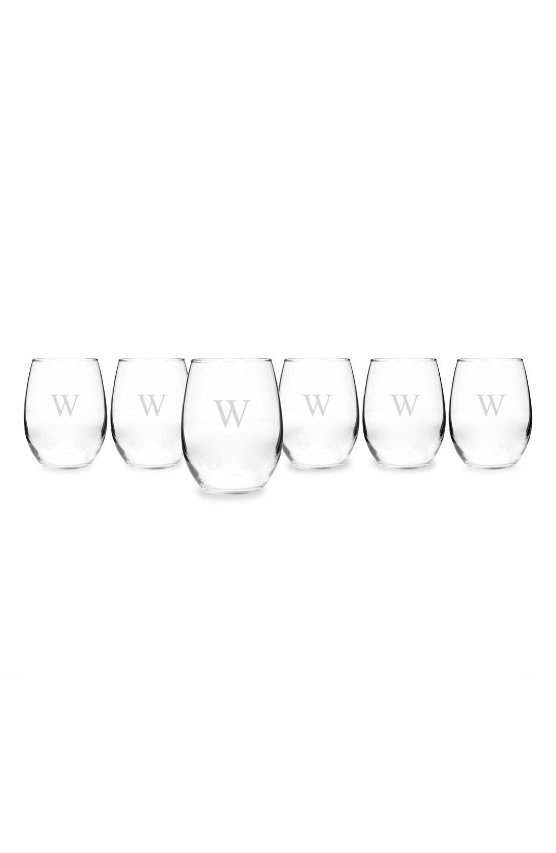 CATHY'S CONCEPTS, Set of 6 Monogram Stemless Wine Glasses, Alternate thumbnail 3, color, W