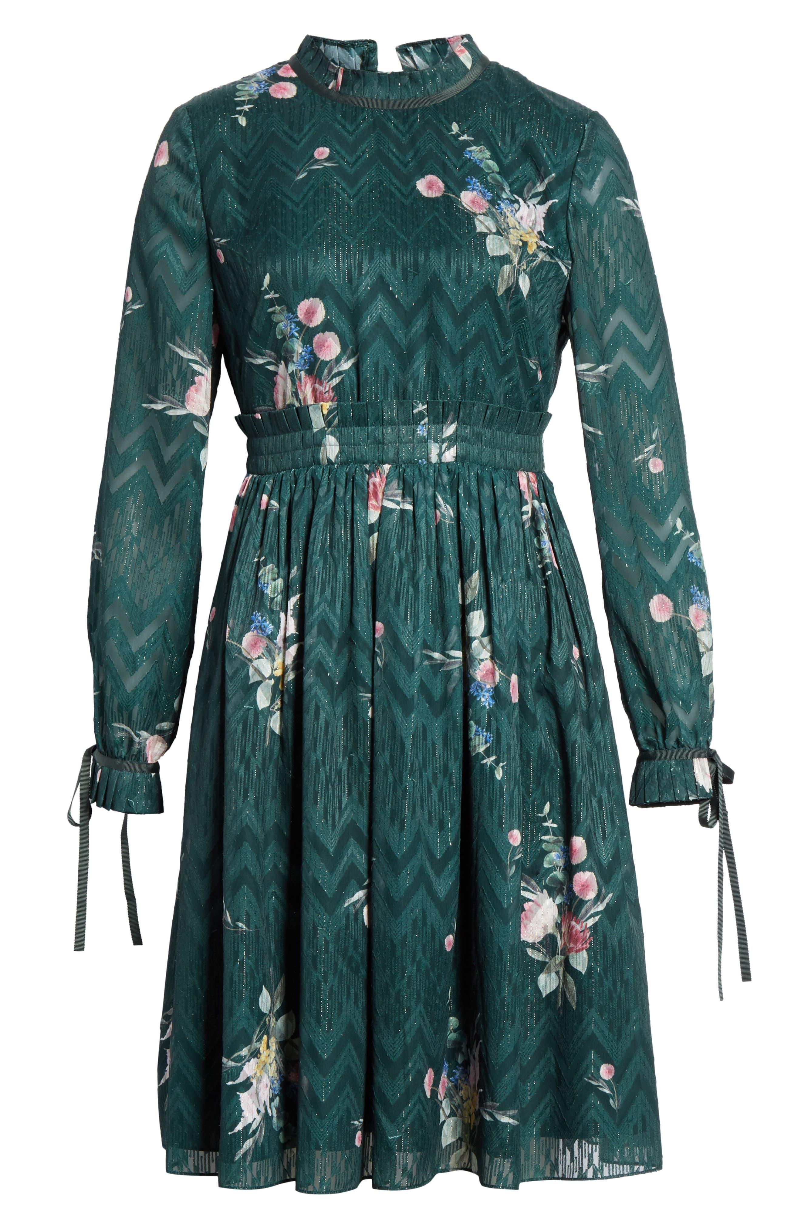 TED BAKER LONDON, Sofiya Floral Ribbon Tie Dress, Alternate thumbnail 7, color, DARK GREEN