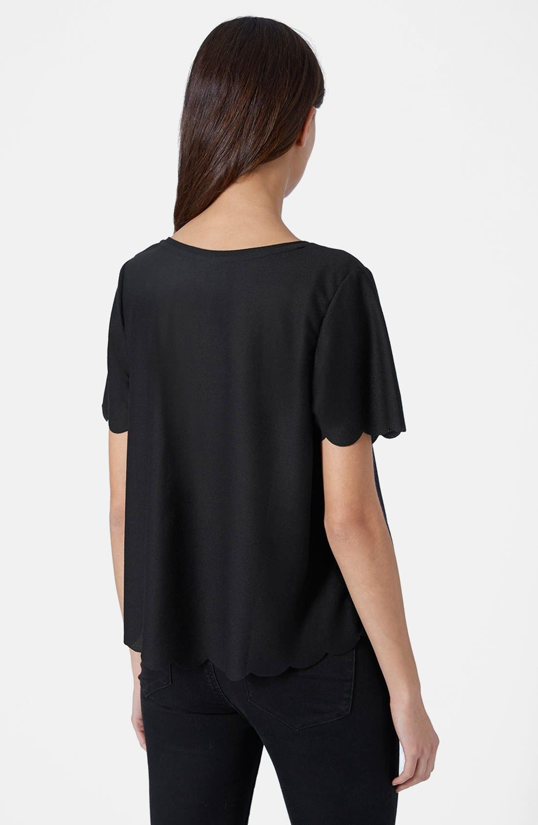 TOPSHOP, Scallop Frill Tee, Alternate thumbnail 3, color, 001