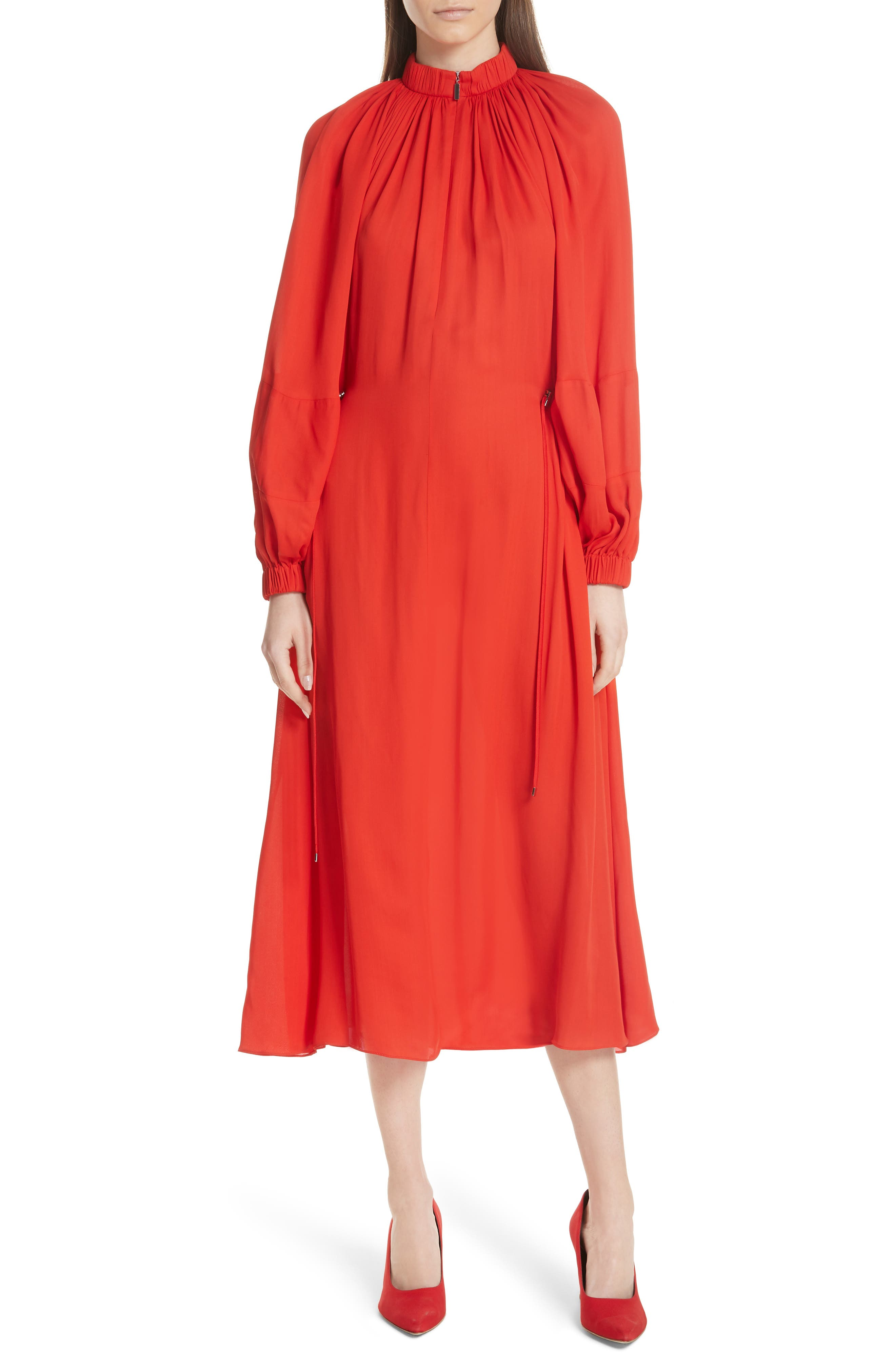 Tibi Georgette Side Toggle Tie Dress, Red