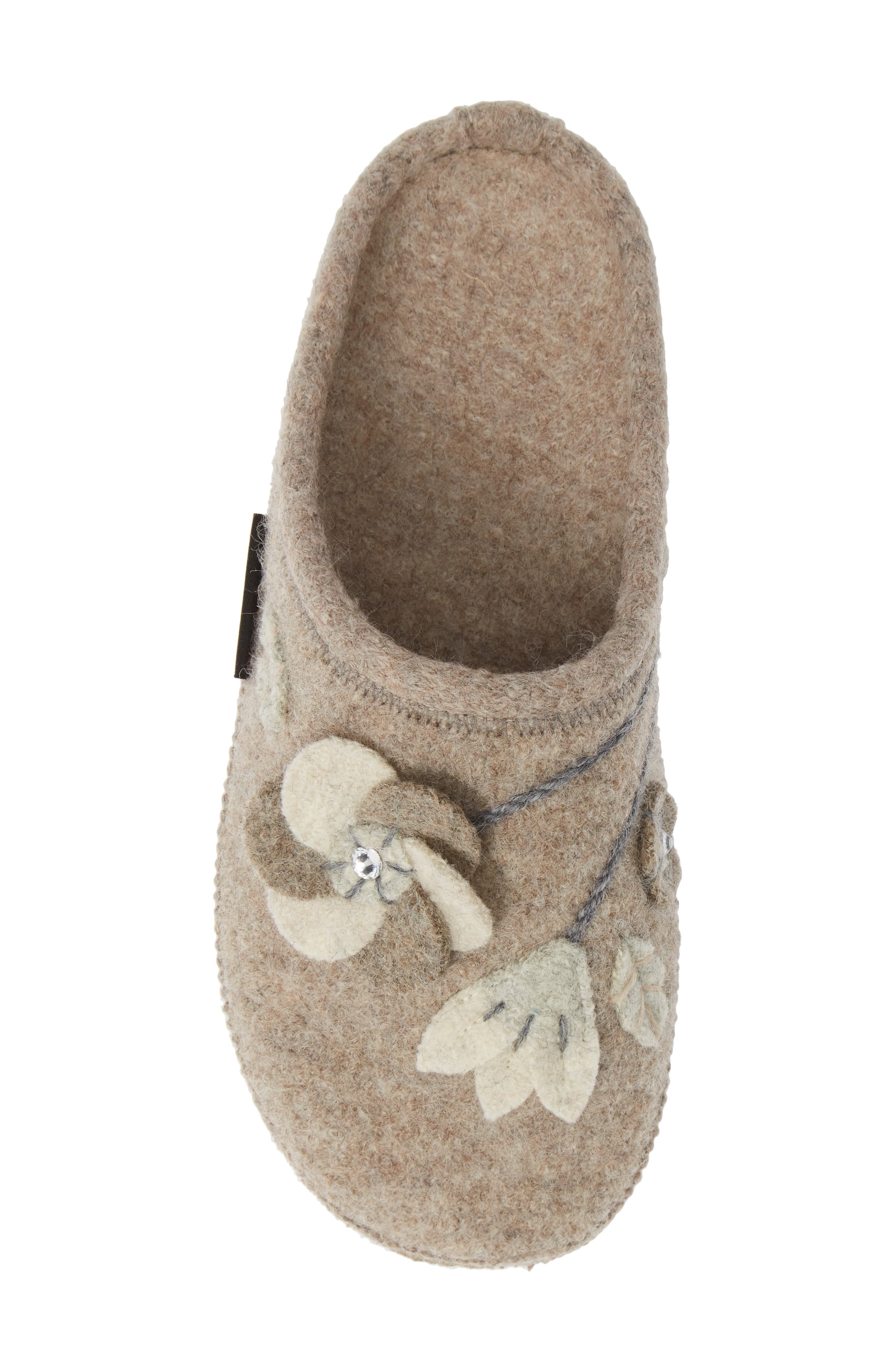 GIESSWEIN, Flora Water Repellent Slipper, Alternate thumbnail 5, color, NATURAL WOOL