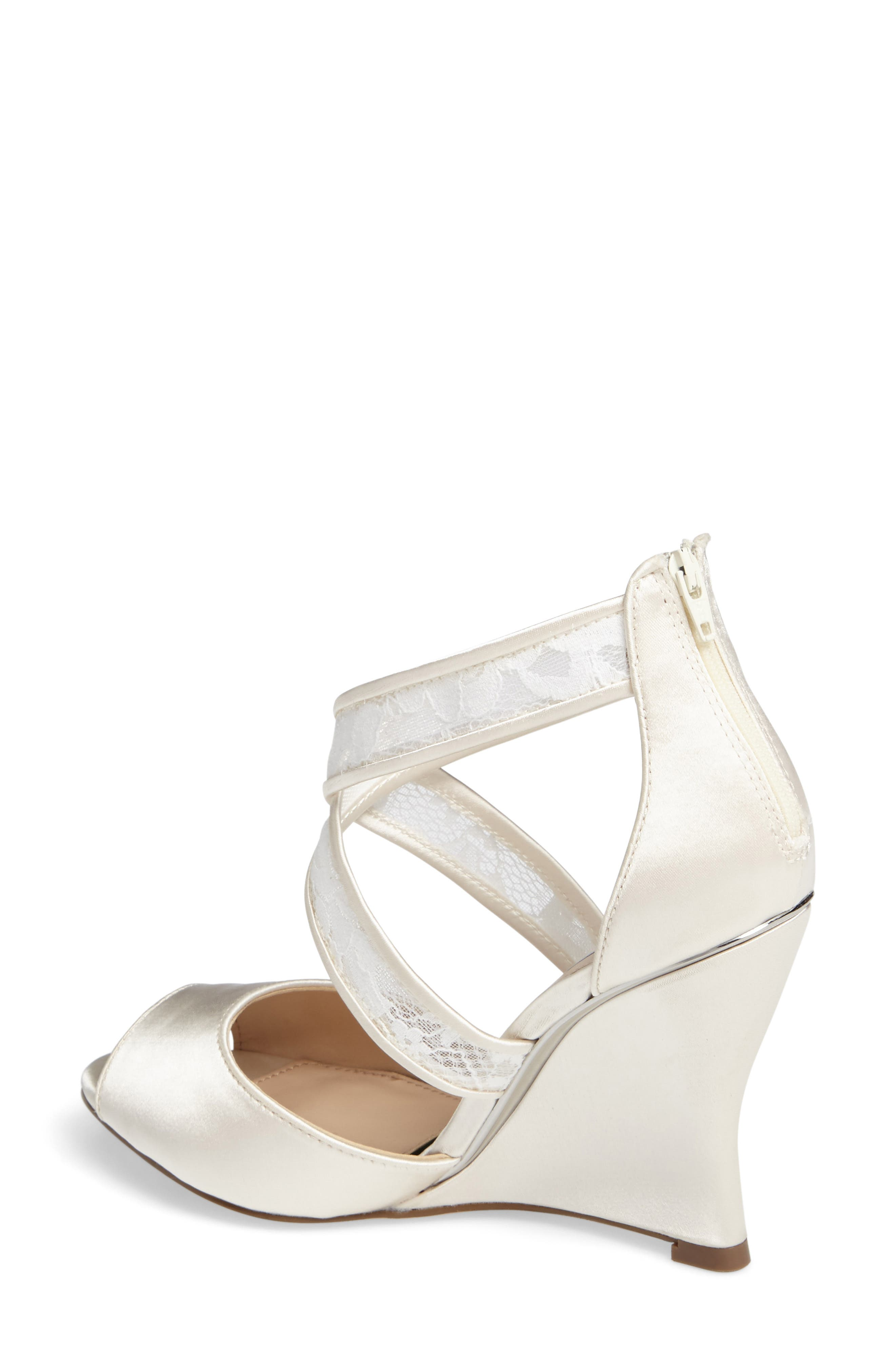 NINA, Elyana Strappy Wedge Sandal, Alternate thumbnail 2, color, IVORY SATIN