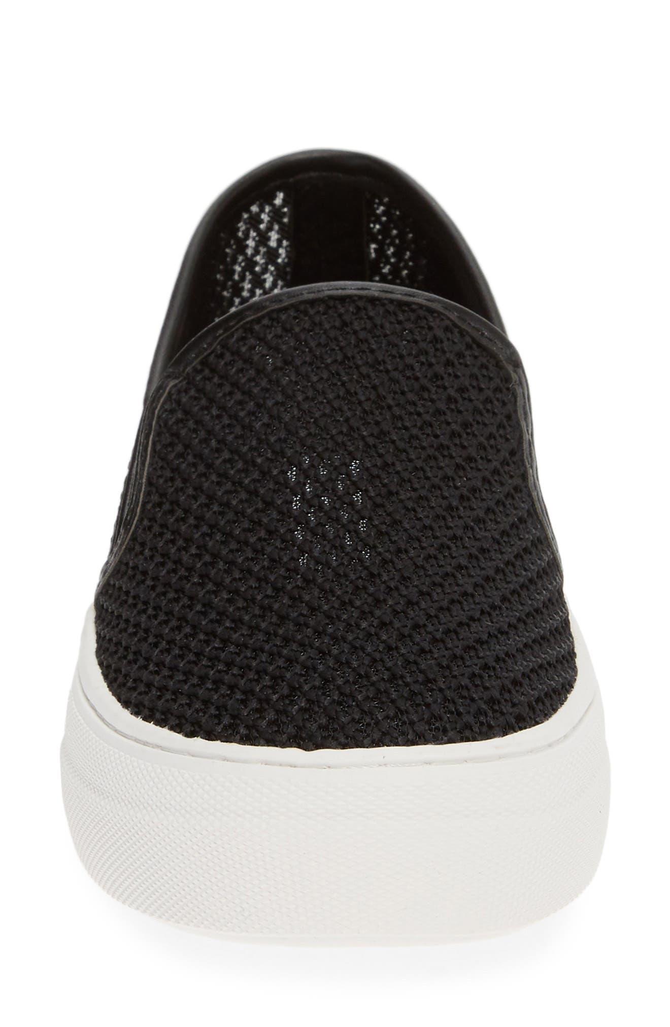 STEVE MADDEN, Gills-M Mesh Slip-On Sneaker, Alternate thumbnail 4, color, BLACK