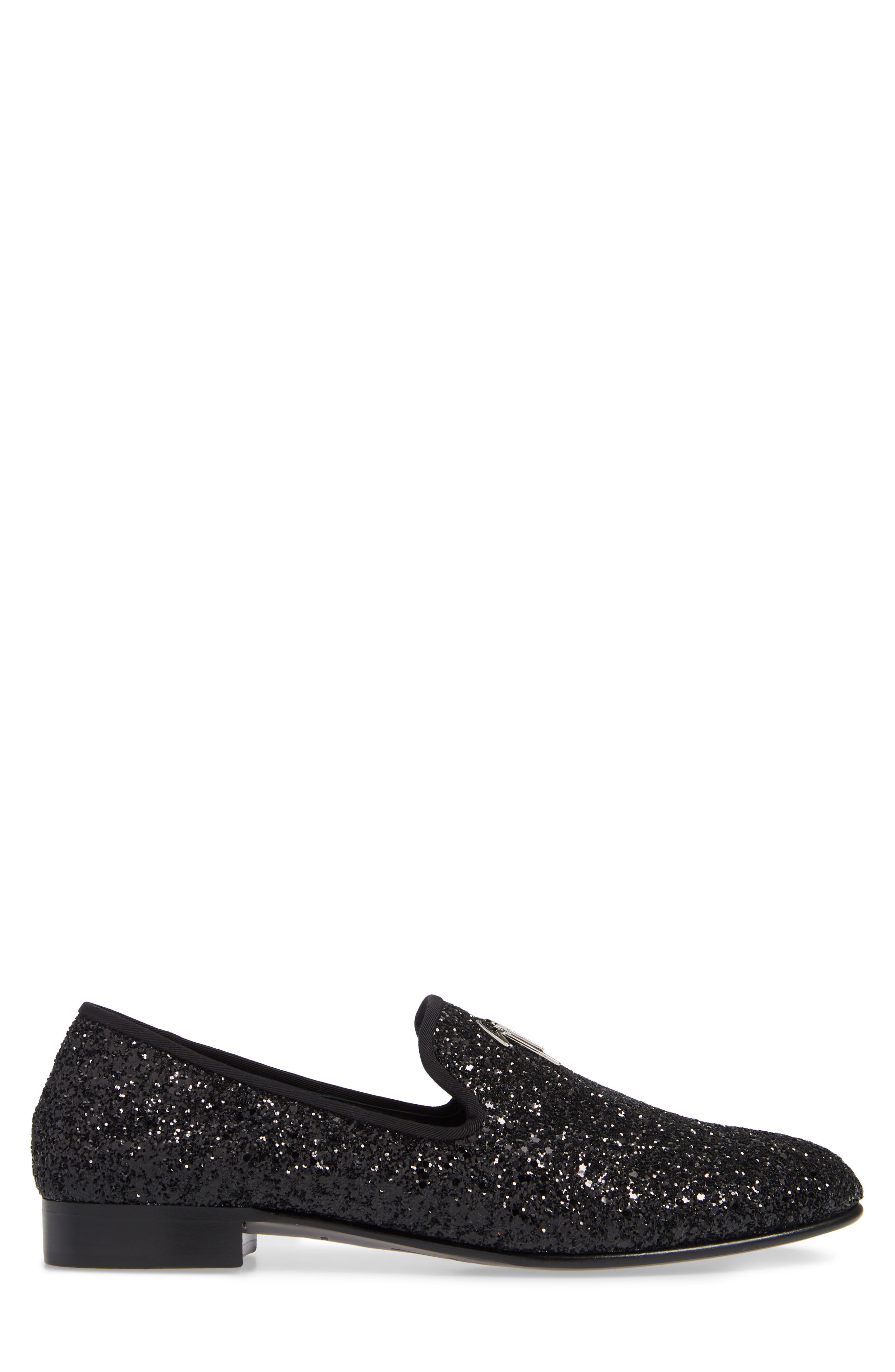 GIUSEPPE ZANOTTI, Glitter Encrusted Smoking Slipper, Alternate thumbnail 3, color, BLACK