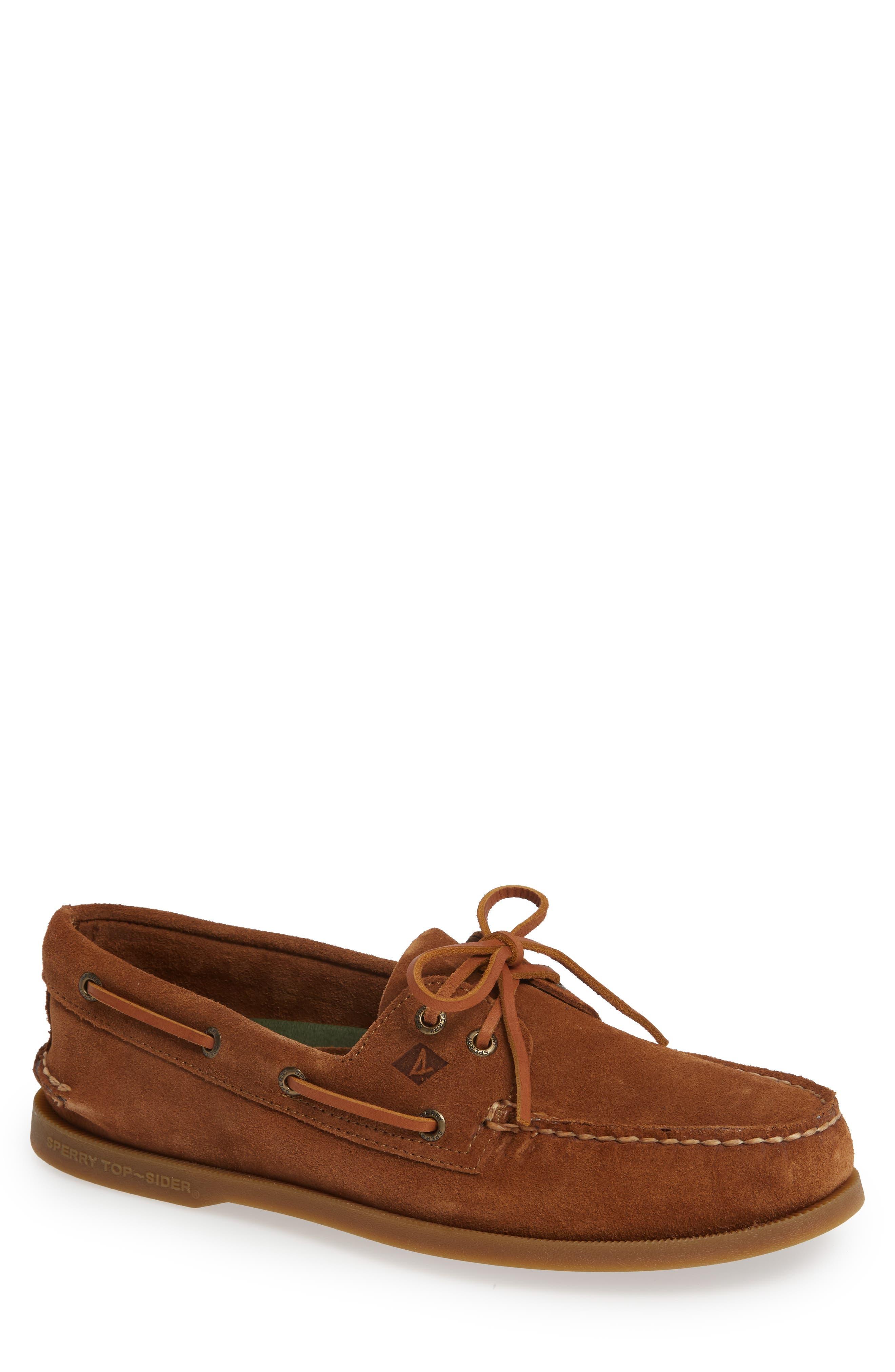 SPERRY Original Suede Boat Shoe, Main, color, DARK TAN SUEDE