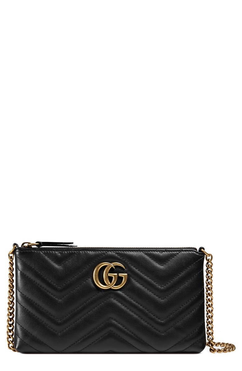 4f99a053406803 GUCCI Marmont 2.0 Leather Wallet on a Chain, Main, color, 1000 NERO