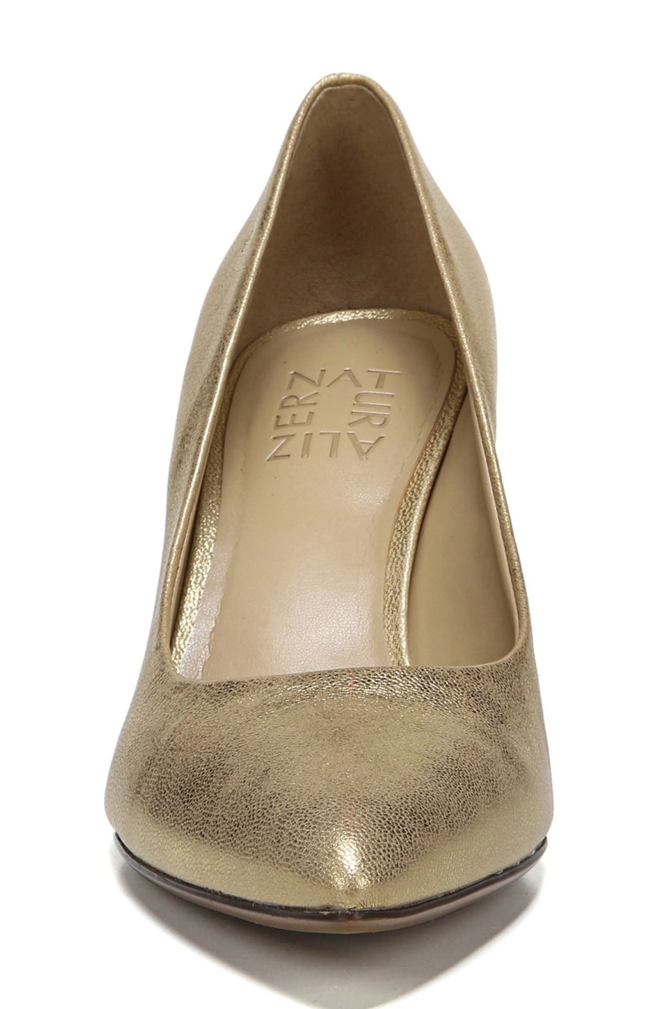 NATURALIZER, Natalie Pointy Toe Pump, Alternate thumbnail 4, color, GOLD LEATHER
