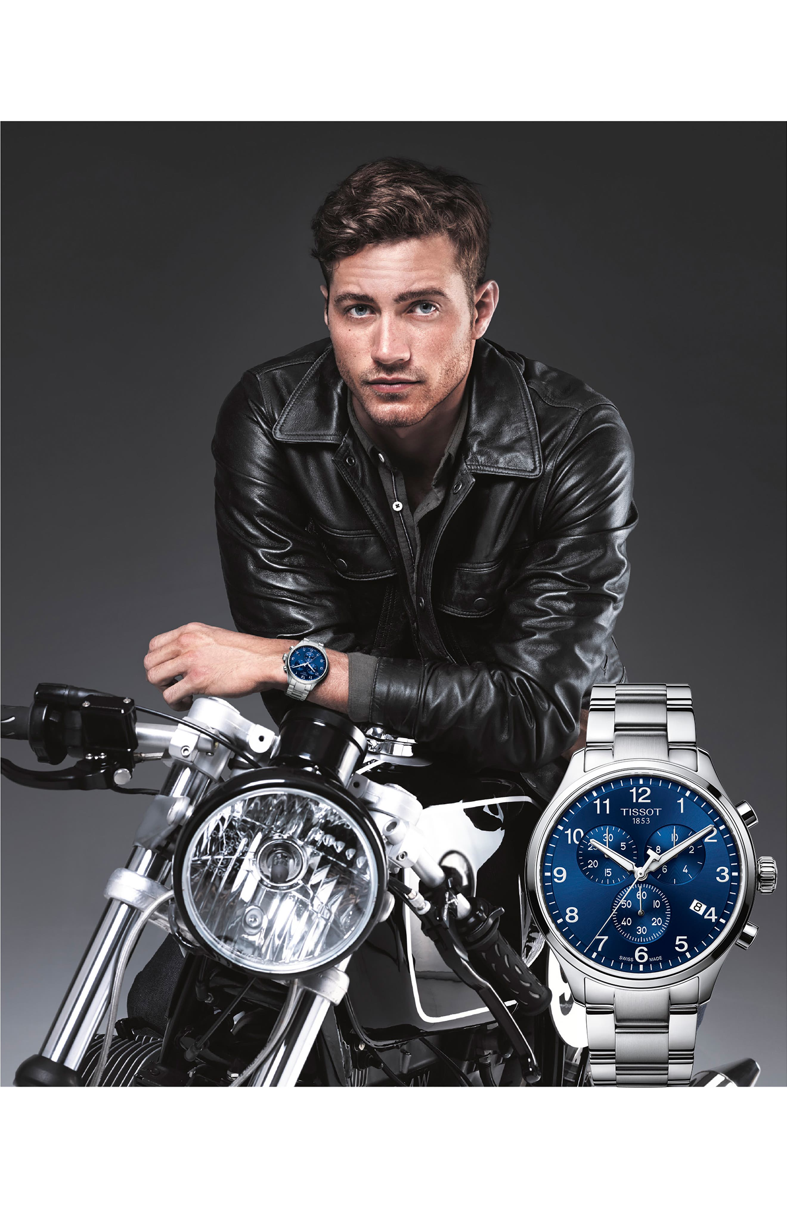 TISSOT, Chrono XL Collection Chronograph Bracelet Watch, 45mm, Alternate thumbnail 2, color, SILVER/ BLUE/ SILVER