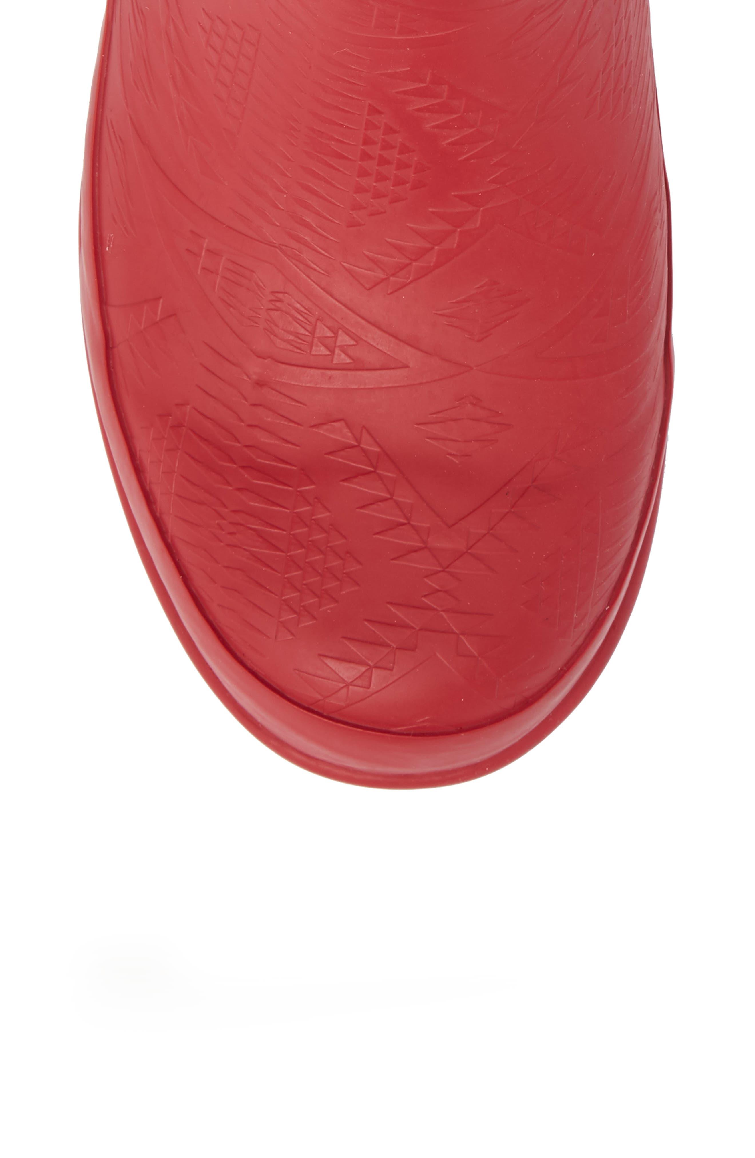 PENDLETON, Embossed Short Waterproof Rain Boot, Alternate thumbnail 5, color, SCARLET