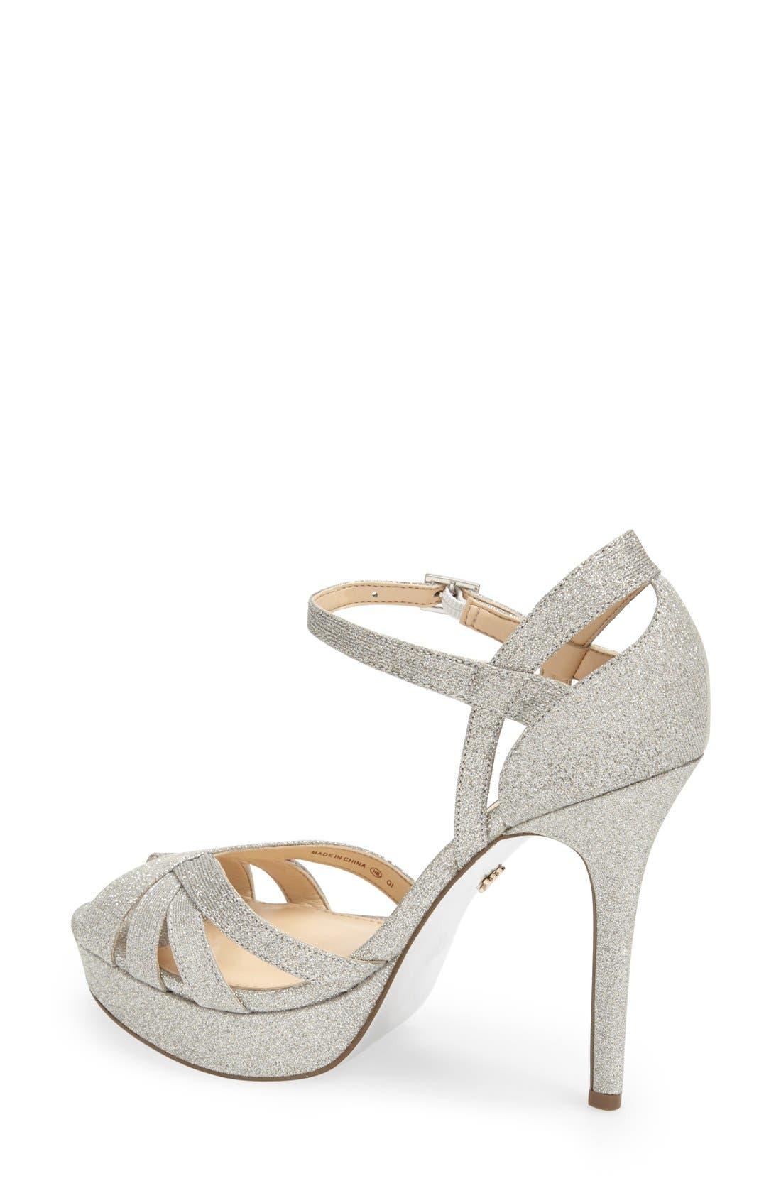 NINA, 'Senora' Glitter Satin Sandal, Alternate thumbnail 2, color, 042