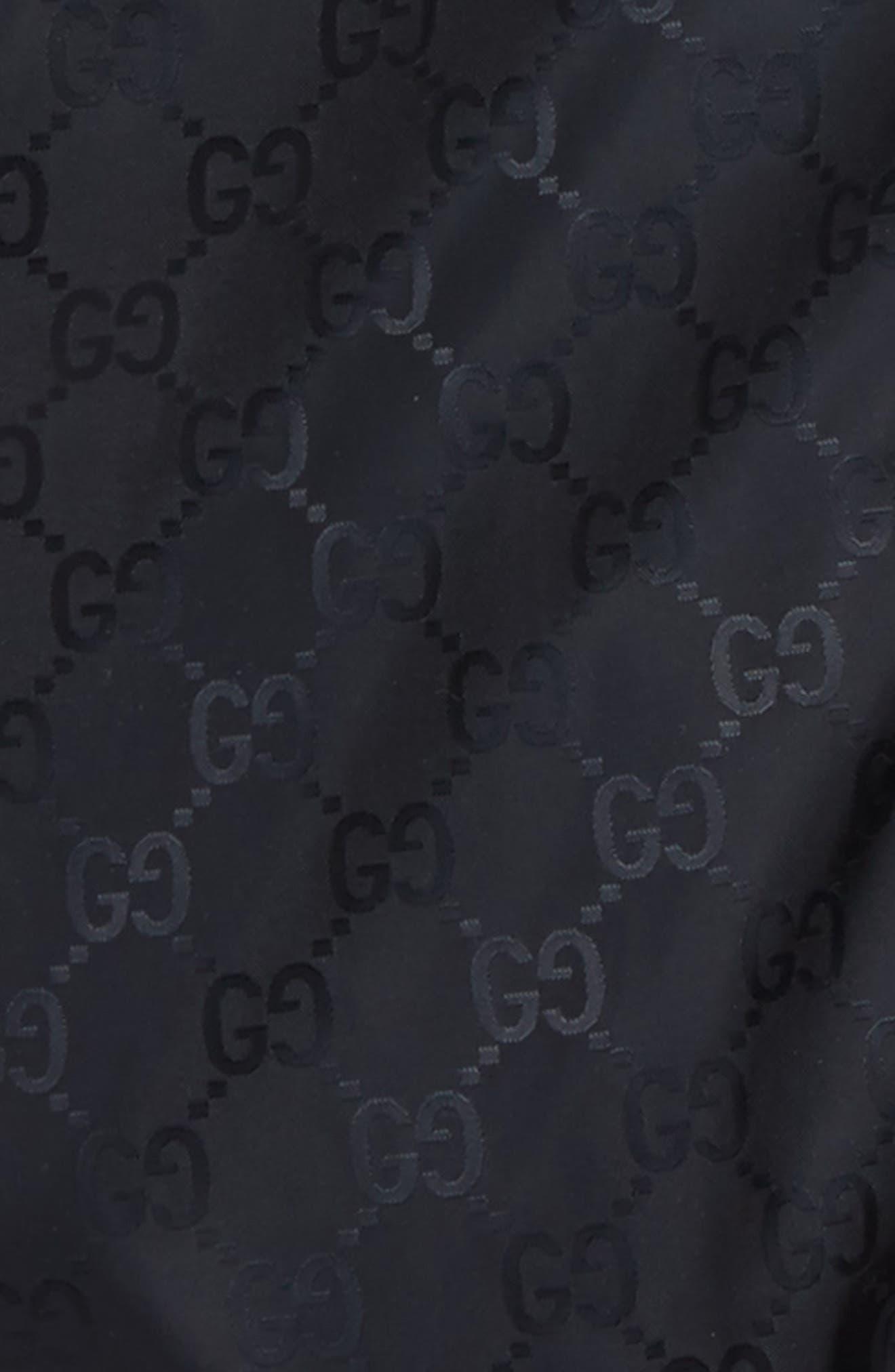 GUCCI, GG Logo Jacquard Hooded Rain Jacket, Alternate thumbnail 2, color, BLUE MULTI